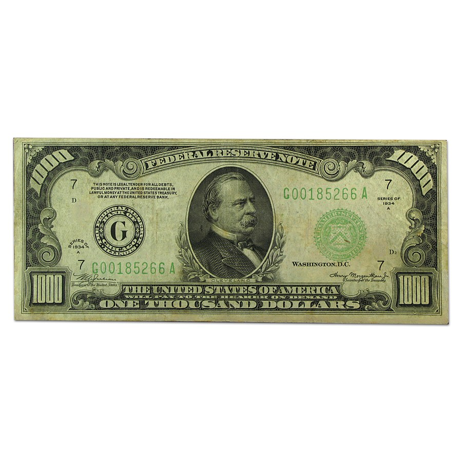 1934-A (G-Chicago) $1,000 FRN Fine+