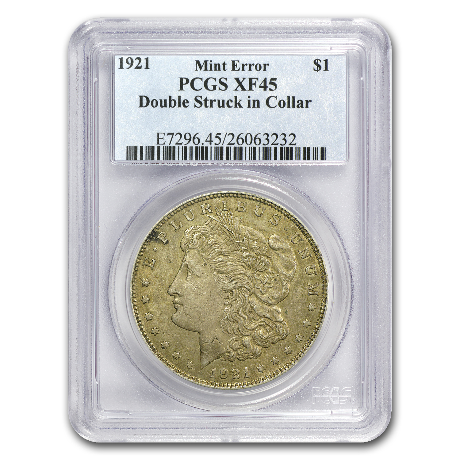 1921 Morgan Dollar - XF-45 PCGS - Double Struck Mint Error
