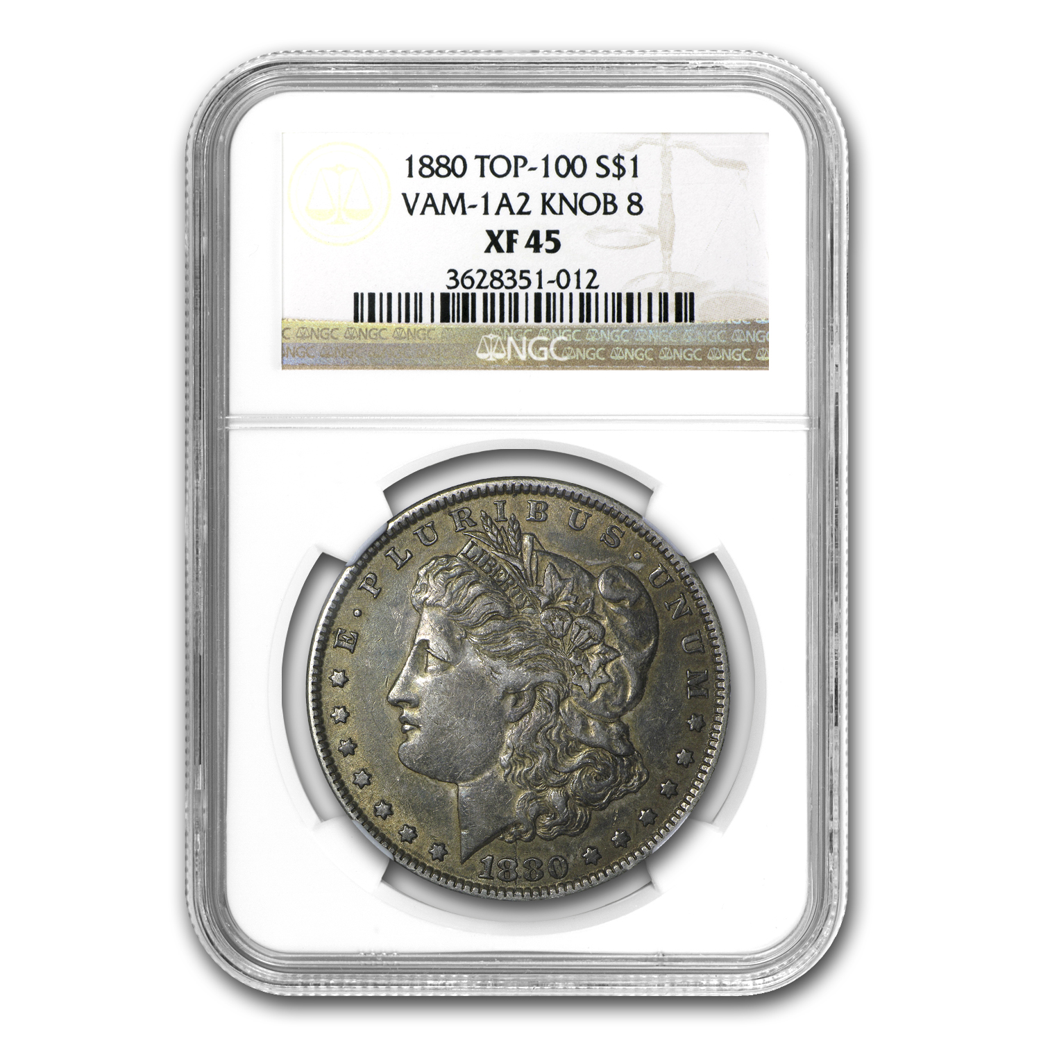 1880 Morgan Dollar XF-45 NGC (VAM-1A2, Knobbed 8, Top-100)