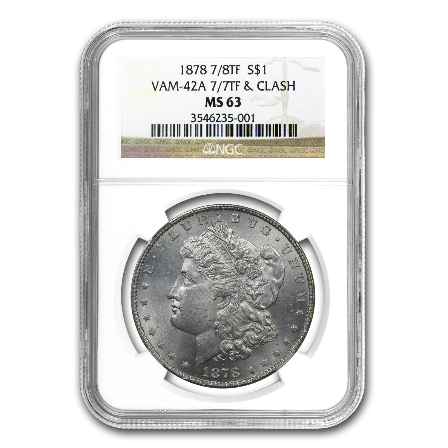1878 Morgan Dollar 7/8 TF MS-63 NGC (VAM-42A)