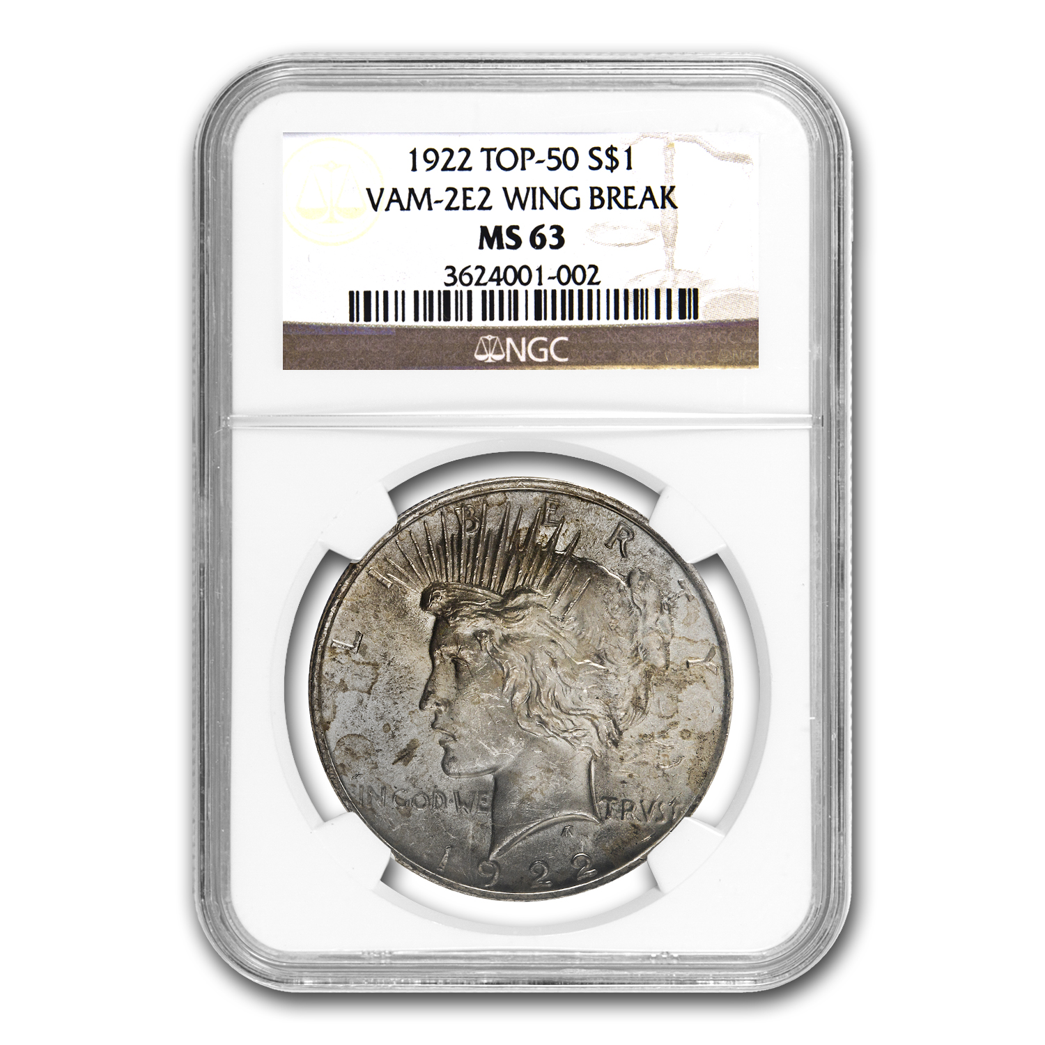 1922 Peace Dollar MS-63 NGC (VAM-2E, Wing Die Break, Top-50)