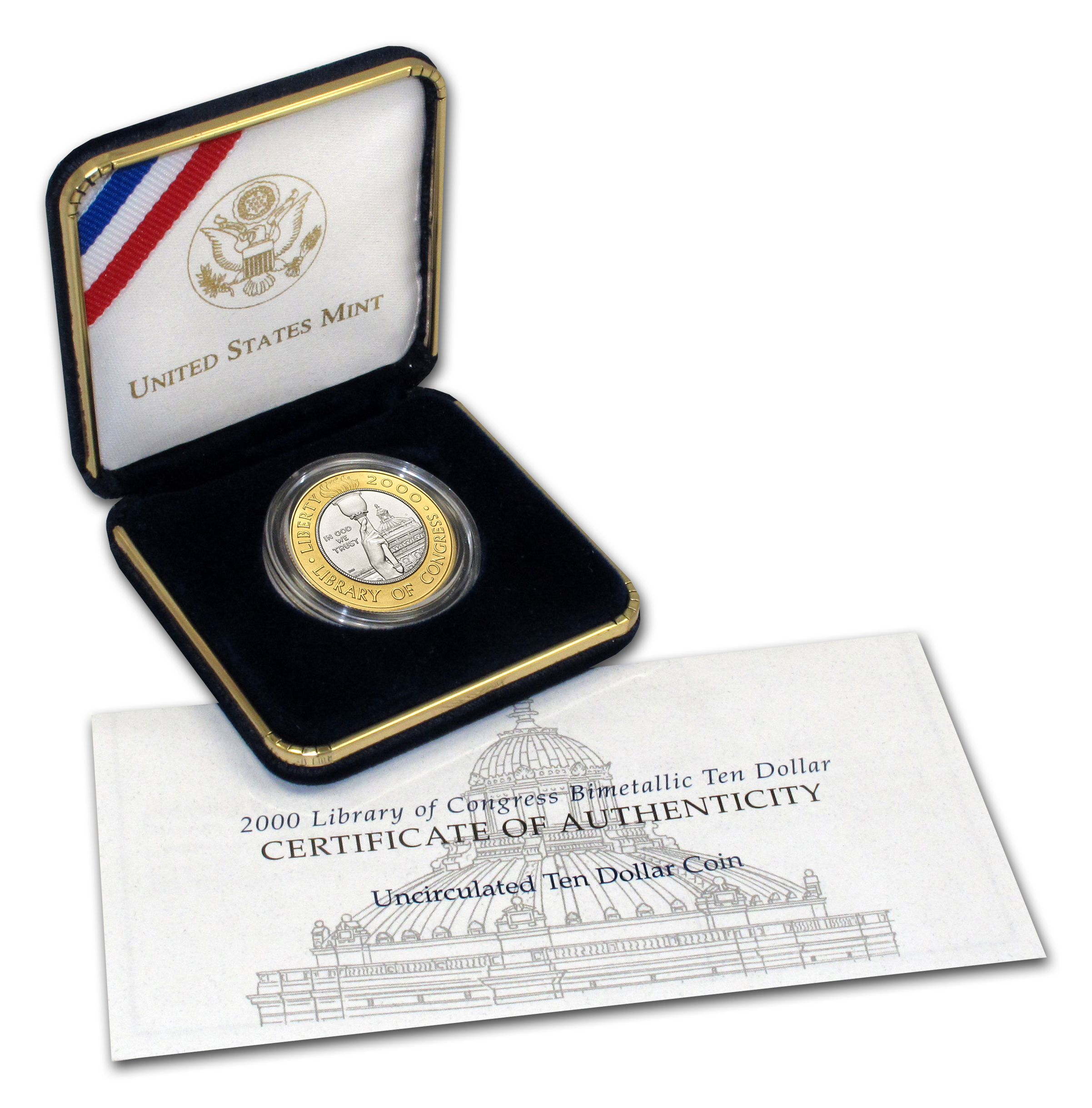 2000-W Gold/Platinum $10 Commem Library of Congress BU (Box/COA)