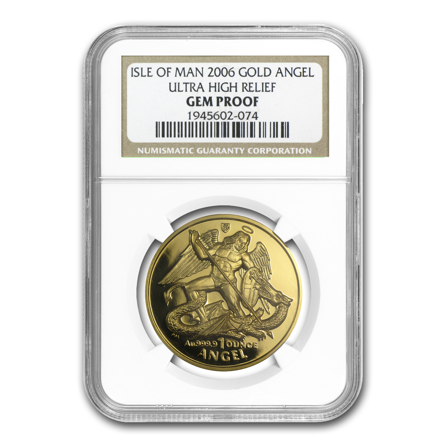 2006 Isle of Man Proof Gold Angel UHR Gem Proof NGC