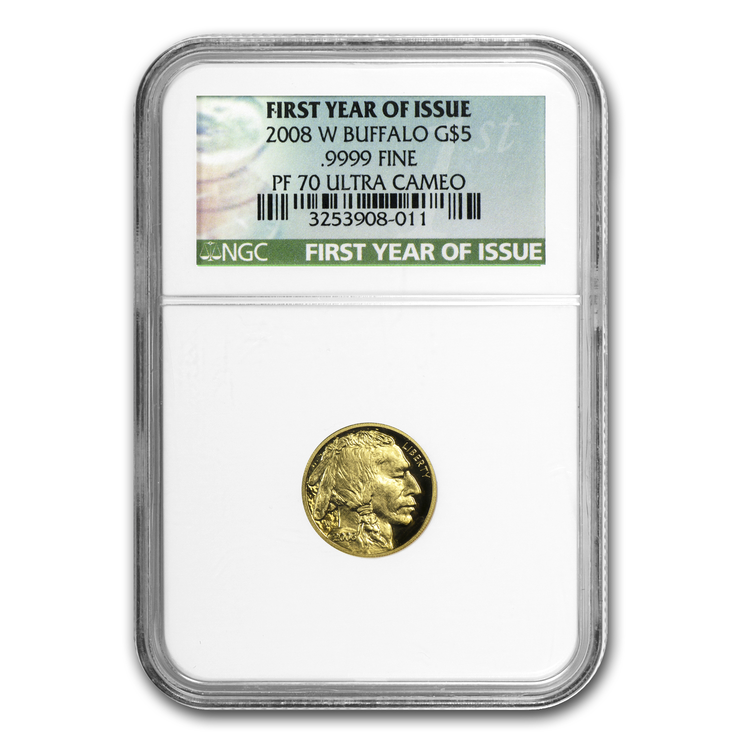 2008-W 1/10 oz Proof Gold Buffalo PF-70 NGC (First Year of Issue)