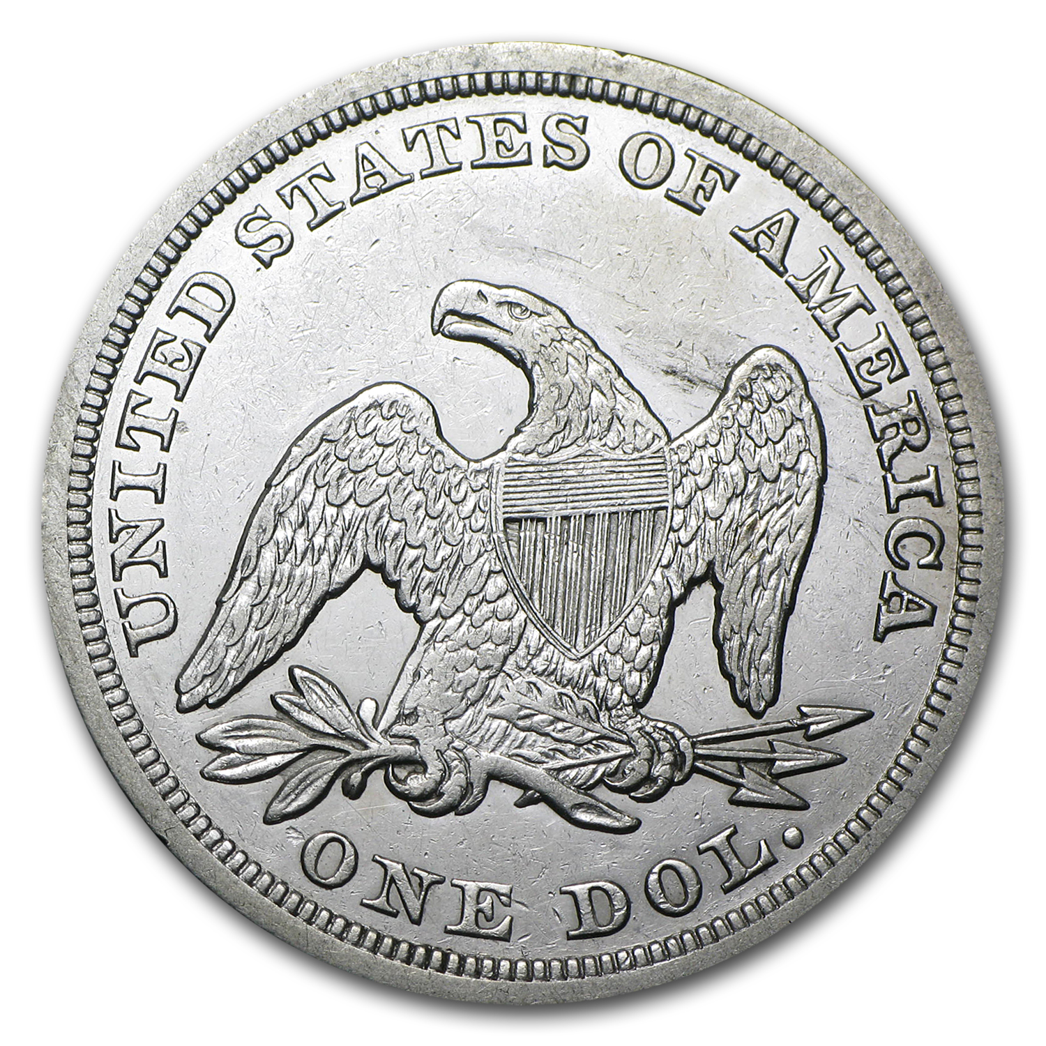 1847 Liberty Seated Dollar - Almost Uncirculated