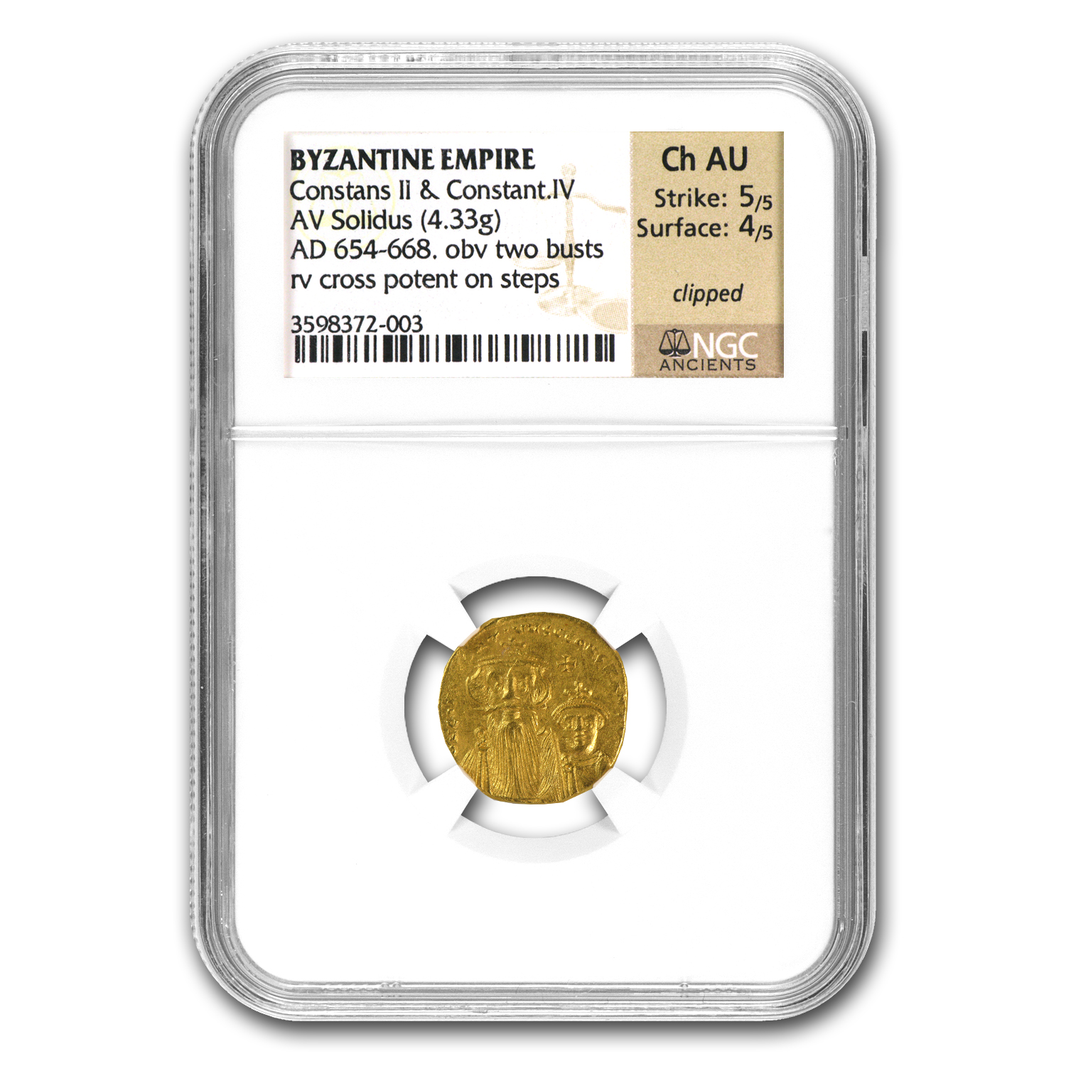 Byzantine Gold Constans II, Constant. IV (641-668 AD) Ch AU NGC