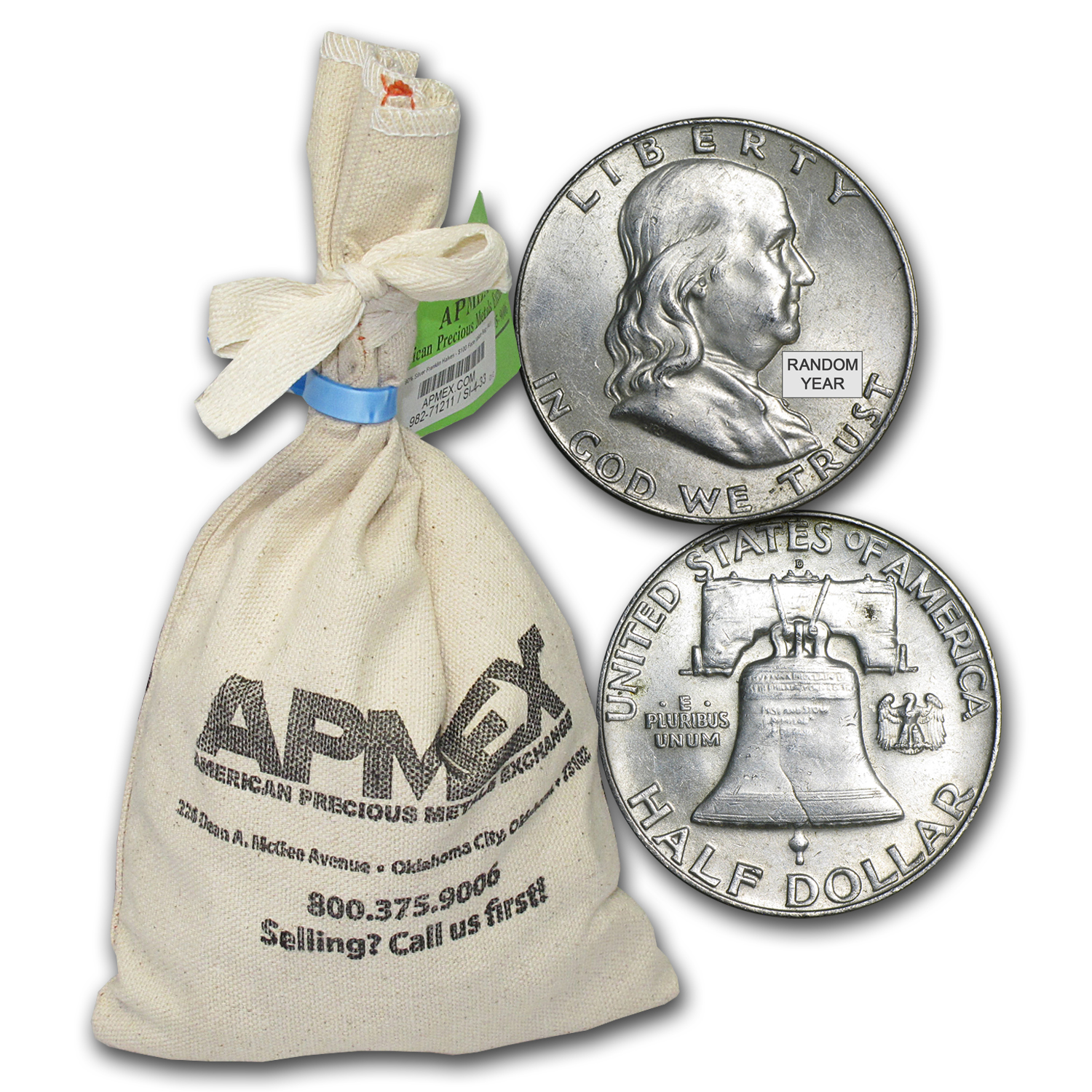 90% Silver Franklin Half-Dollars $100 Face-Value Bag AU