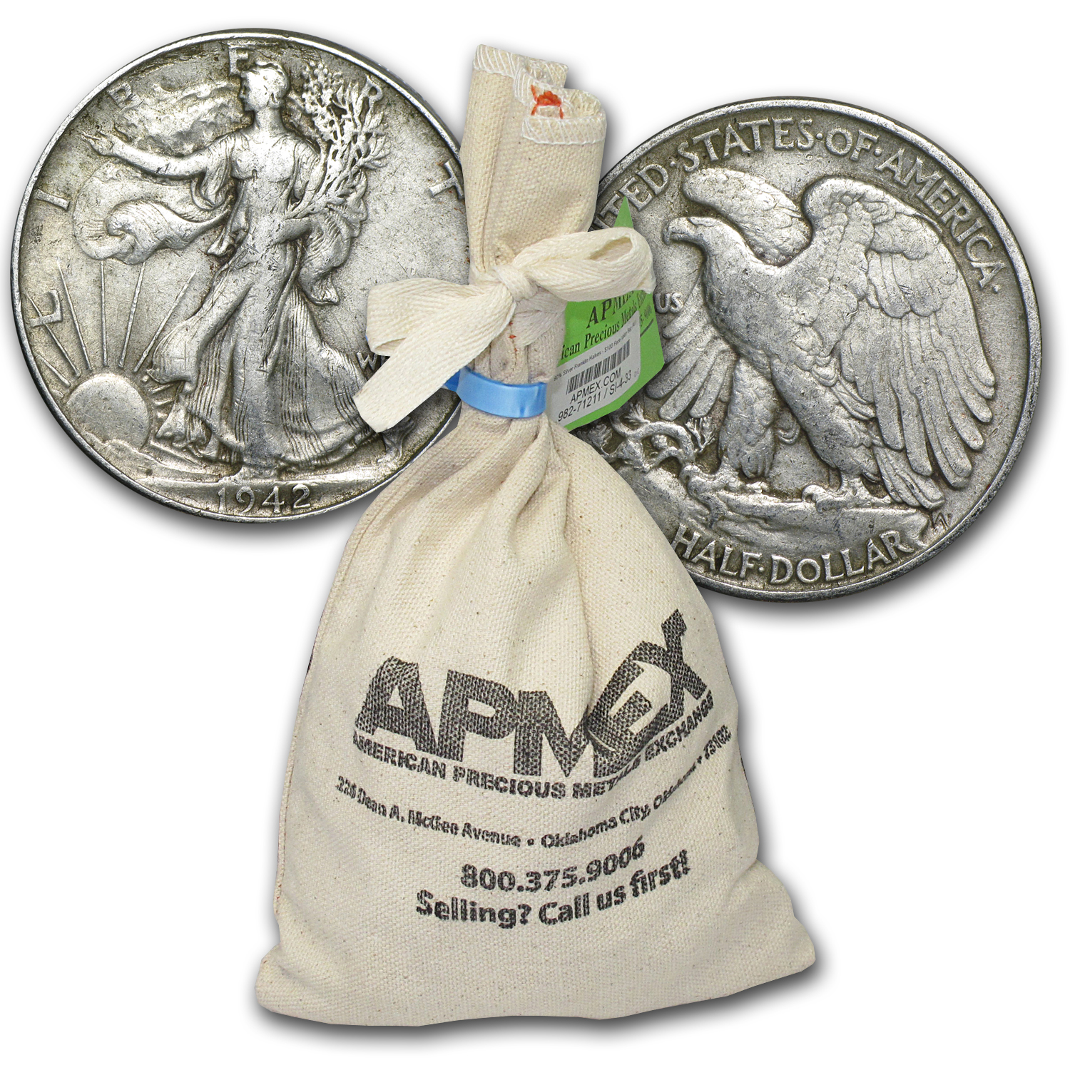 90% Silver Walking Liberty Half-Dollars $100 Face-Value Bag XF
