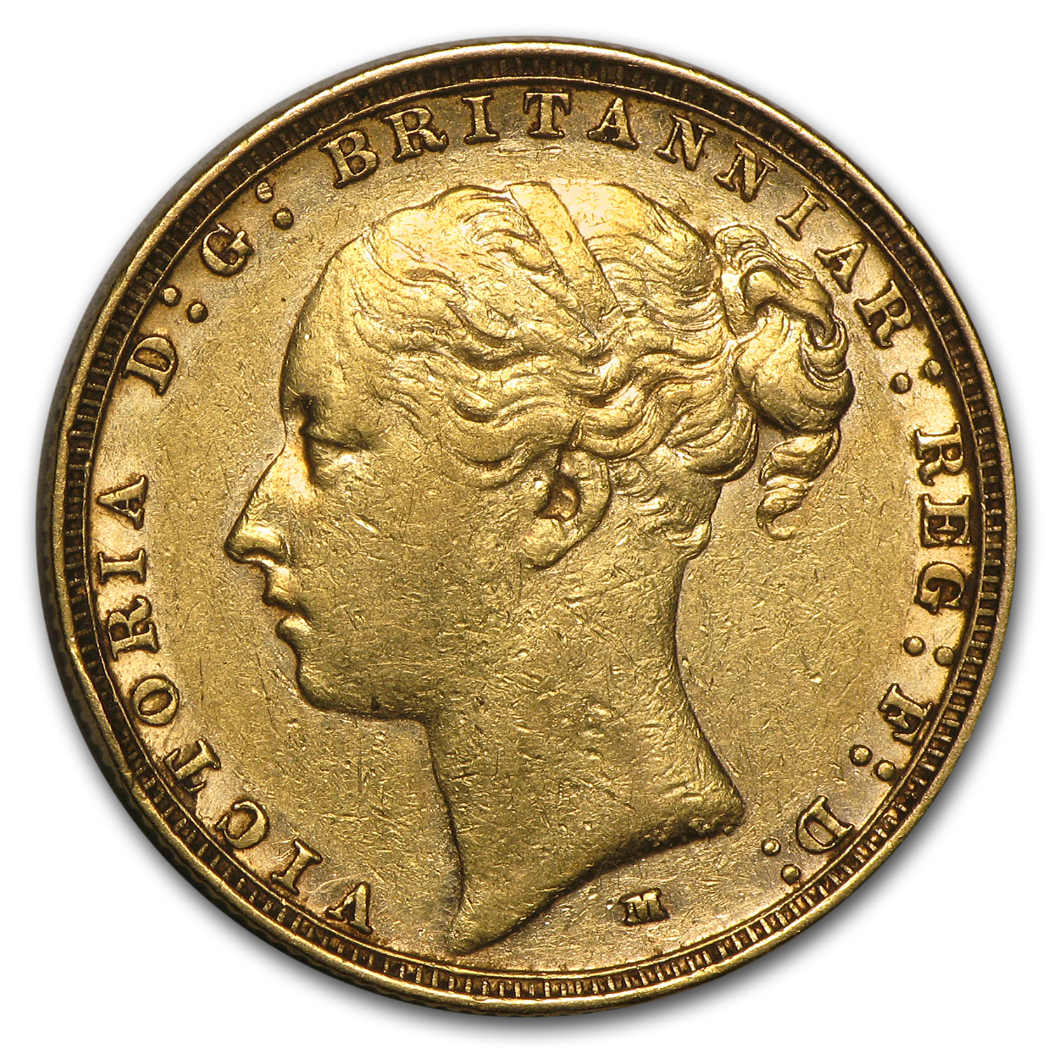 1872-1887-M Australia Gold Sovereign Young Victoria Avg Circ