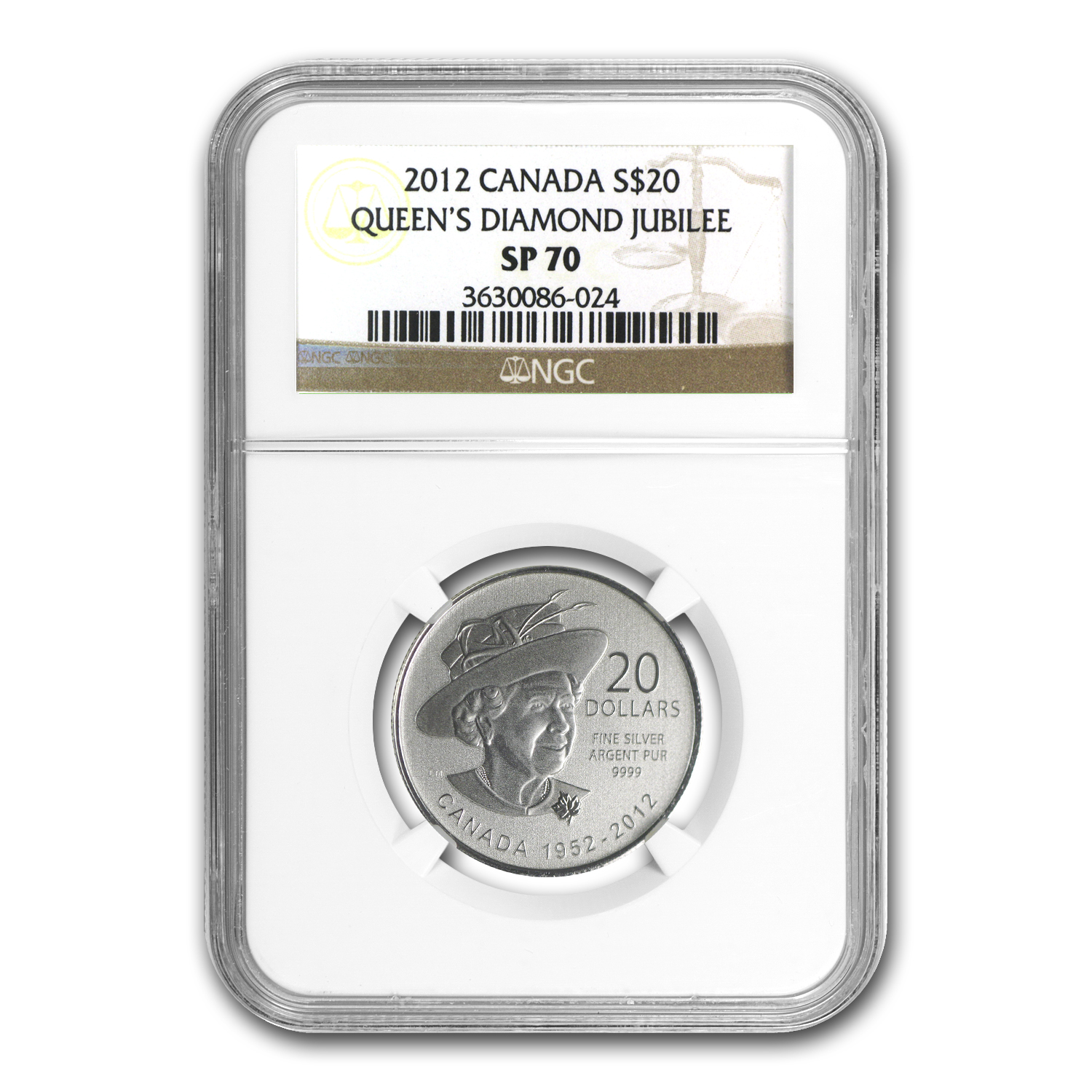 2012 1/4 oz Silver Canadian $20 Diamond Jubilee SP-70 NGC