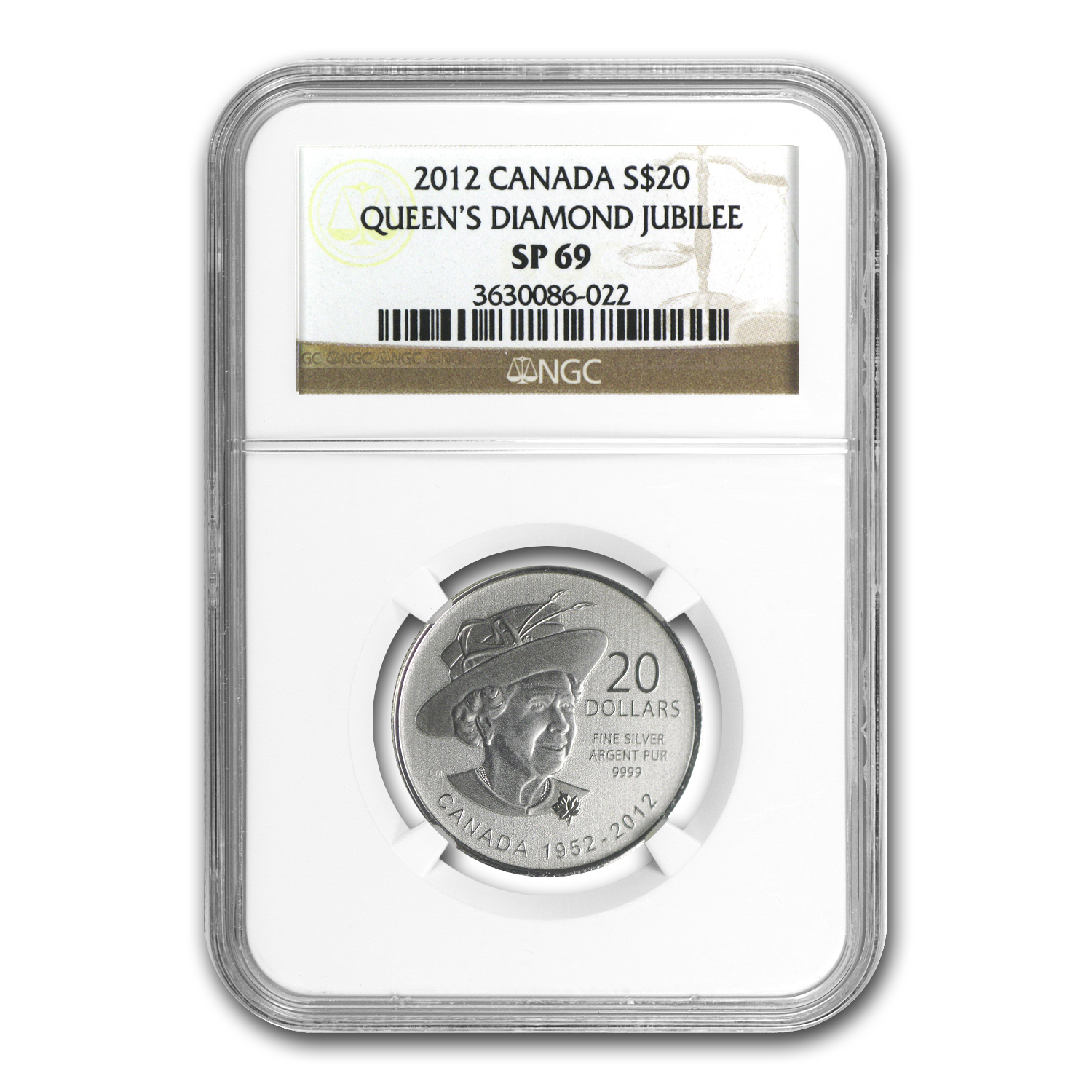 2012 1/4 oz Silver Canadian $20 Diamond Jubilee SP-69 NGC