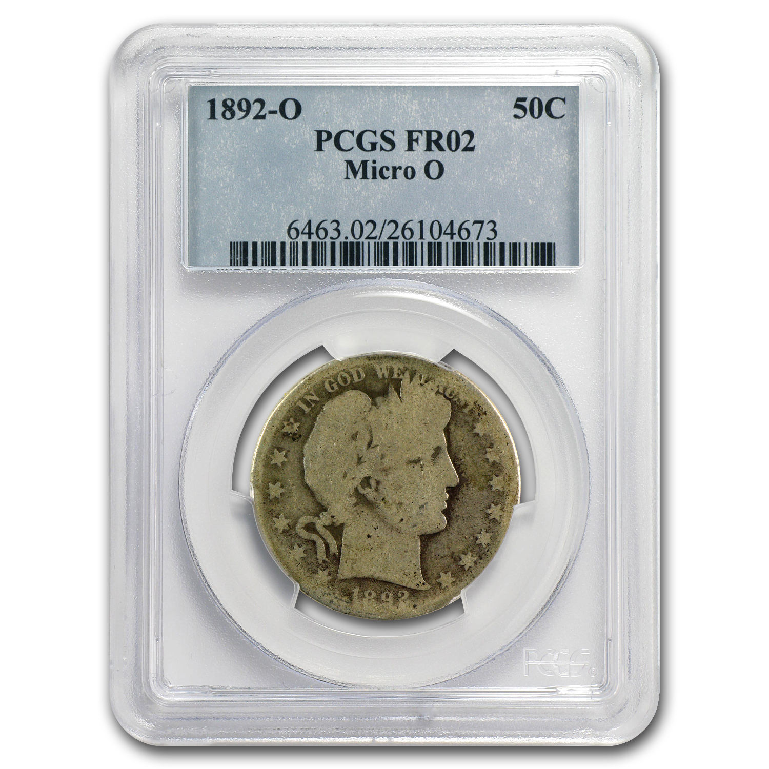 1892-O Micro O PCGS Fair-2 Barber Half Dollar