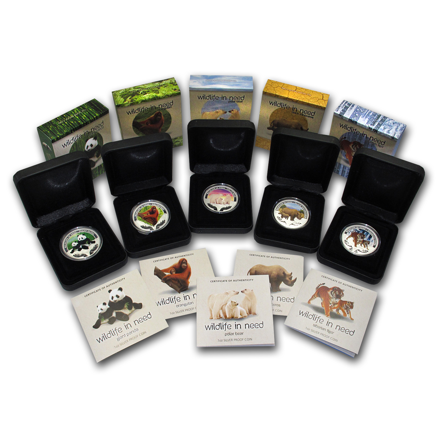 2011-2012 1 oz Proof Silver Wildlife in Need 5-Coin Series