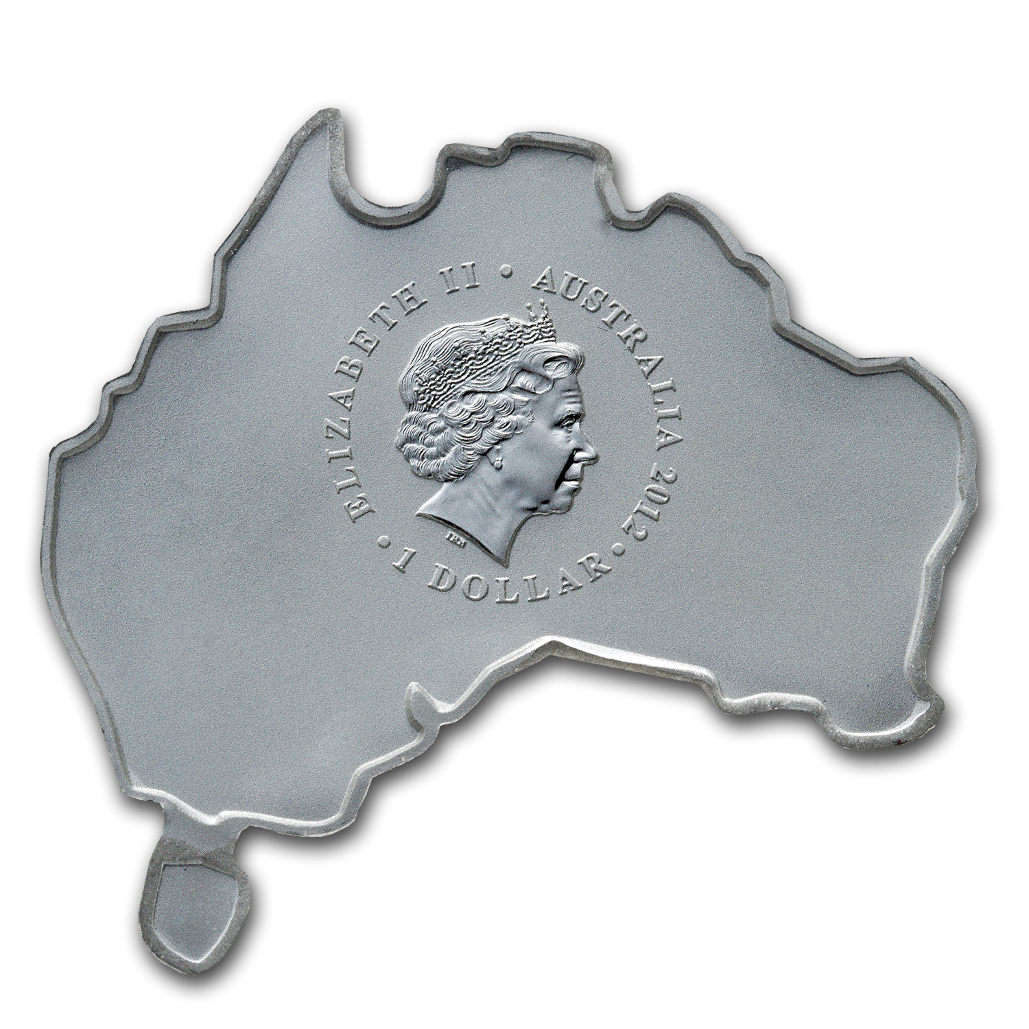 2012 1 oz Silver Australian Emu (Map Shape)