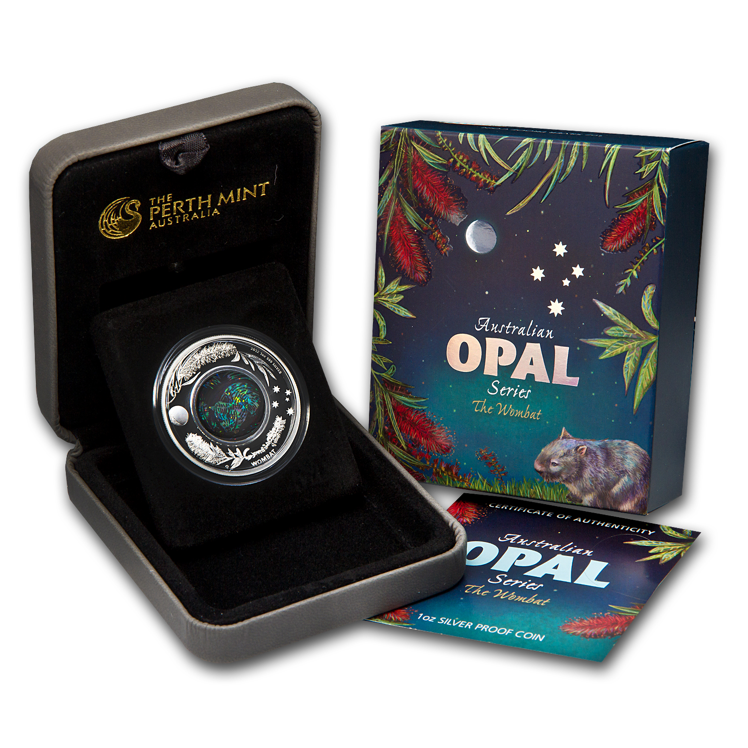 2012 1 oz Proof Silver The Wombat- Australian Opal Series