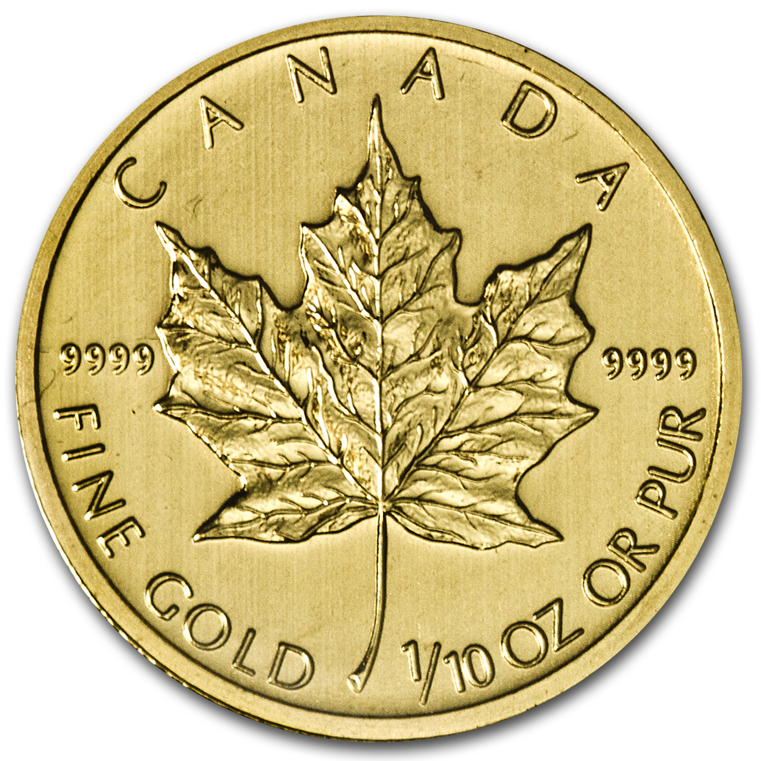 2013 1/10 oz Gold Canadian Maple Leaf BU