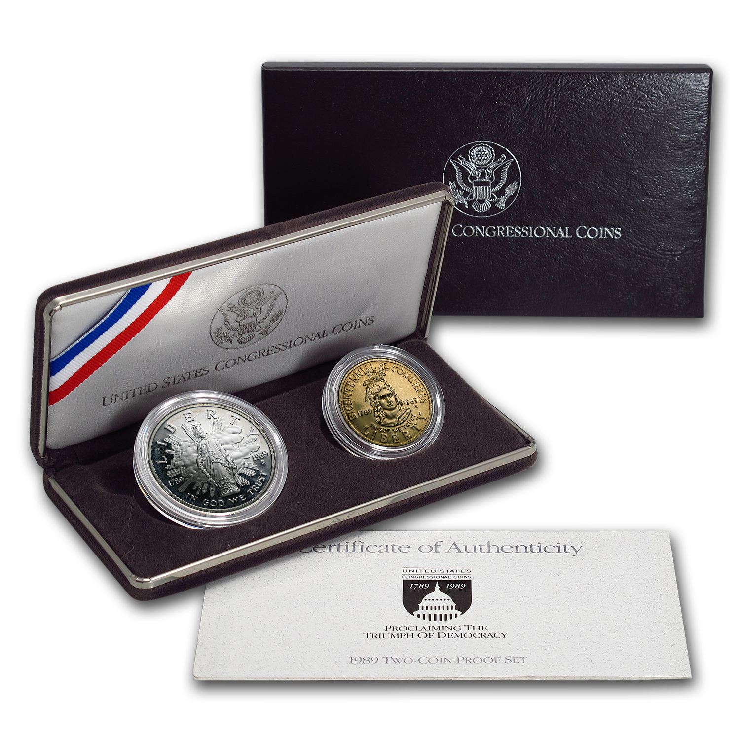 1989 2-Coin Congressional Proof Set (w/Box & COA)