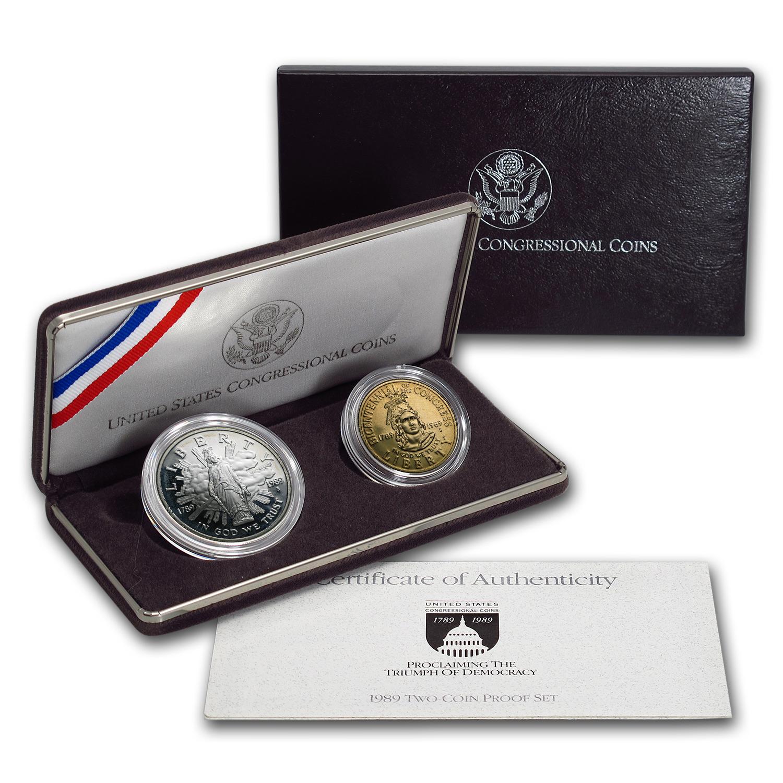 1989 2 Coin Congressional Proof Set W Box Amp Coa Silver