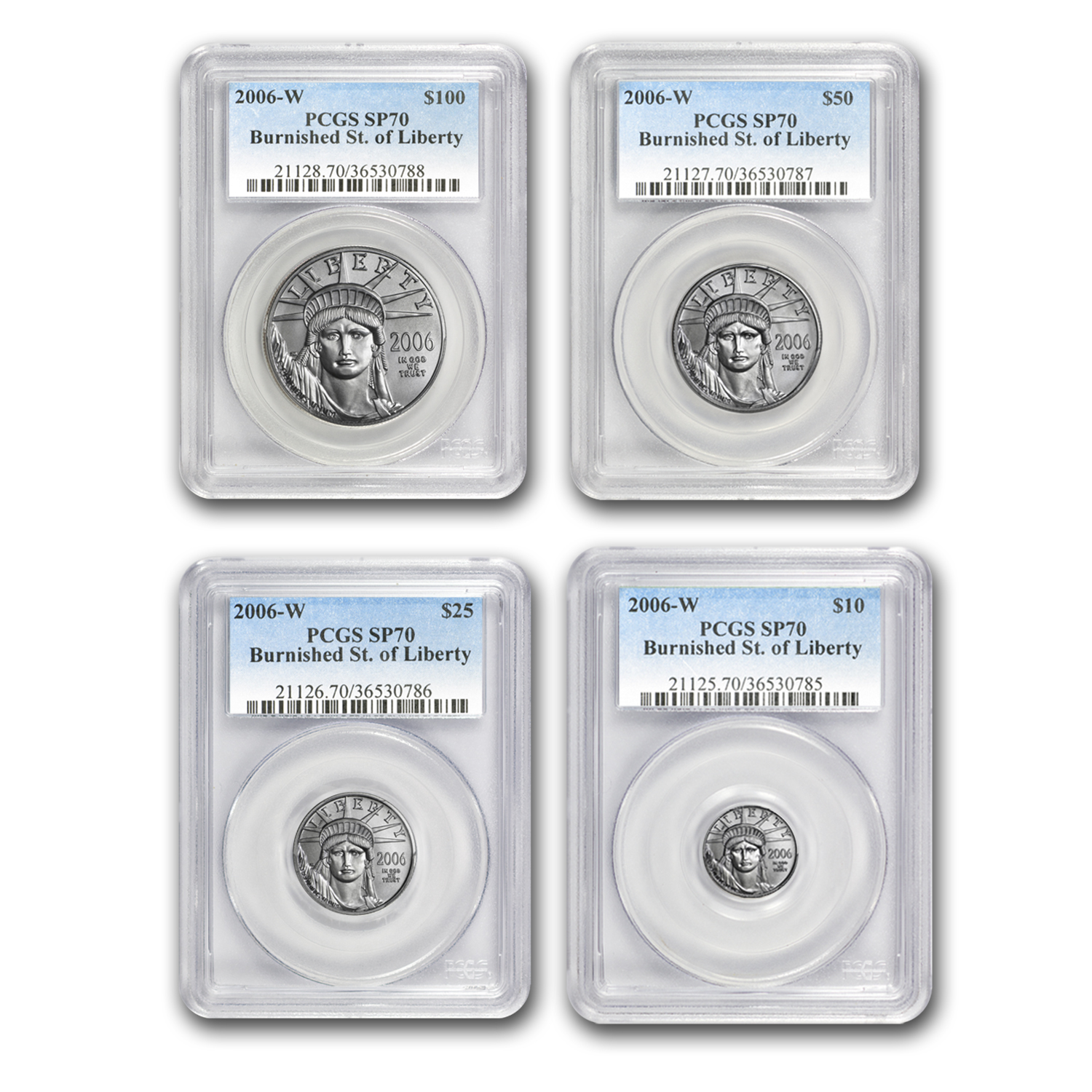2006-W 4-Coin Burnished Platinum American Eagle Set MS-70 PCGS