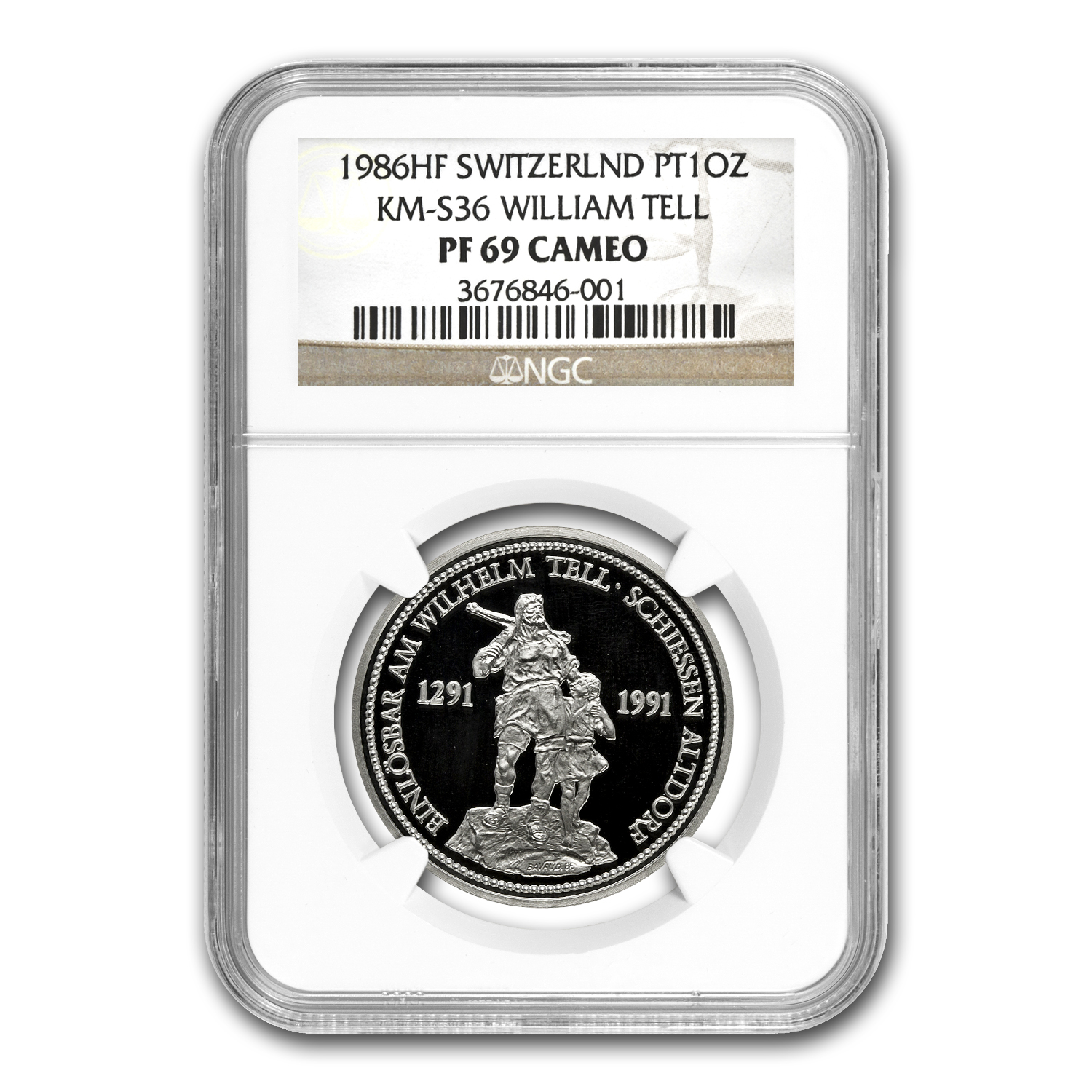 1986 1 oz Swiss Platinum Shooting Thalers PF-69 UCAM NGC