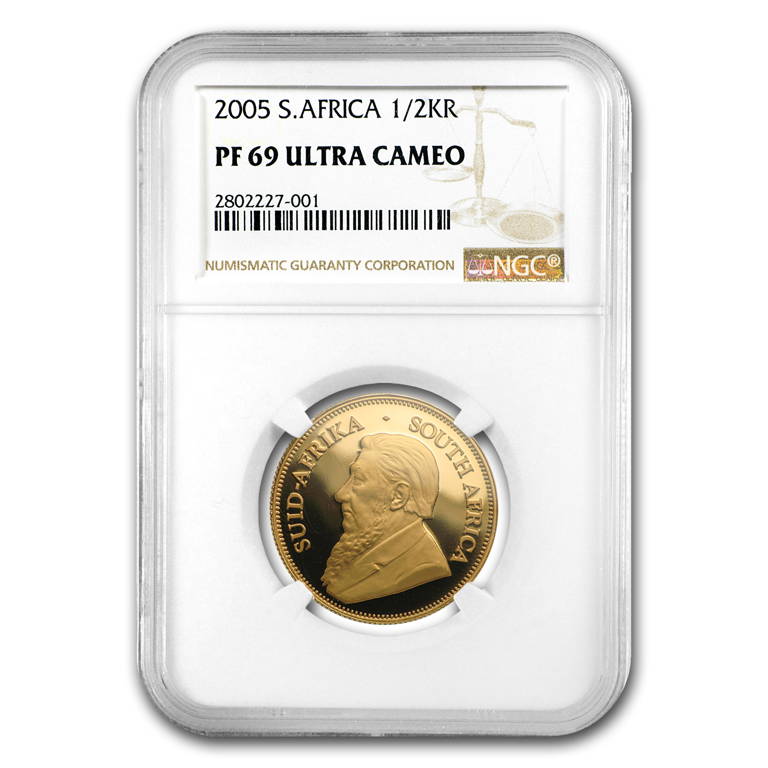 2005 South Africa 1/2 oz Gold Krugerrand PF-69 NGC