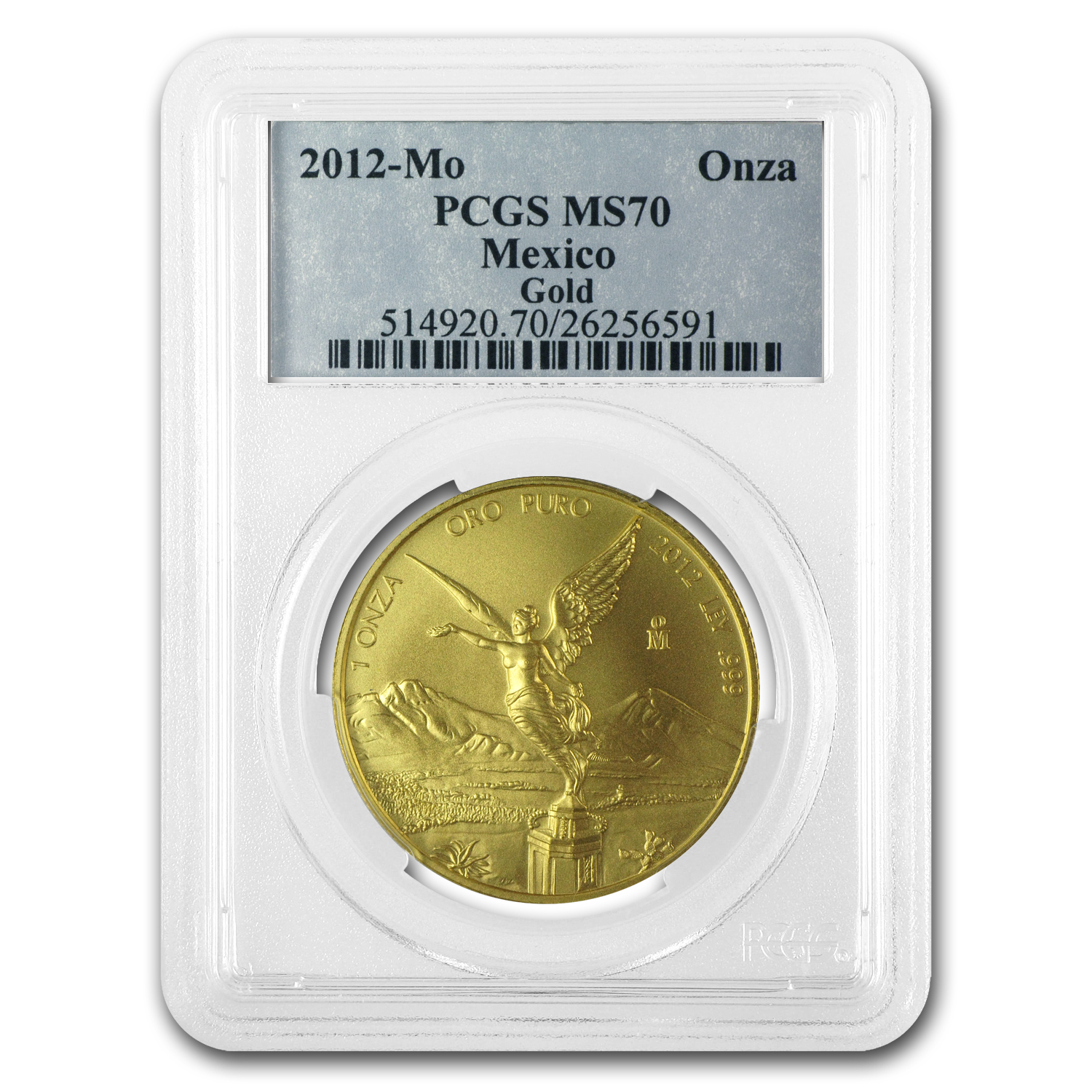 2012 1 oz Gold Mexican Libertad MS-70 PCGS
