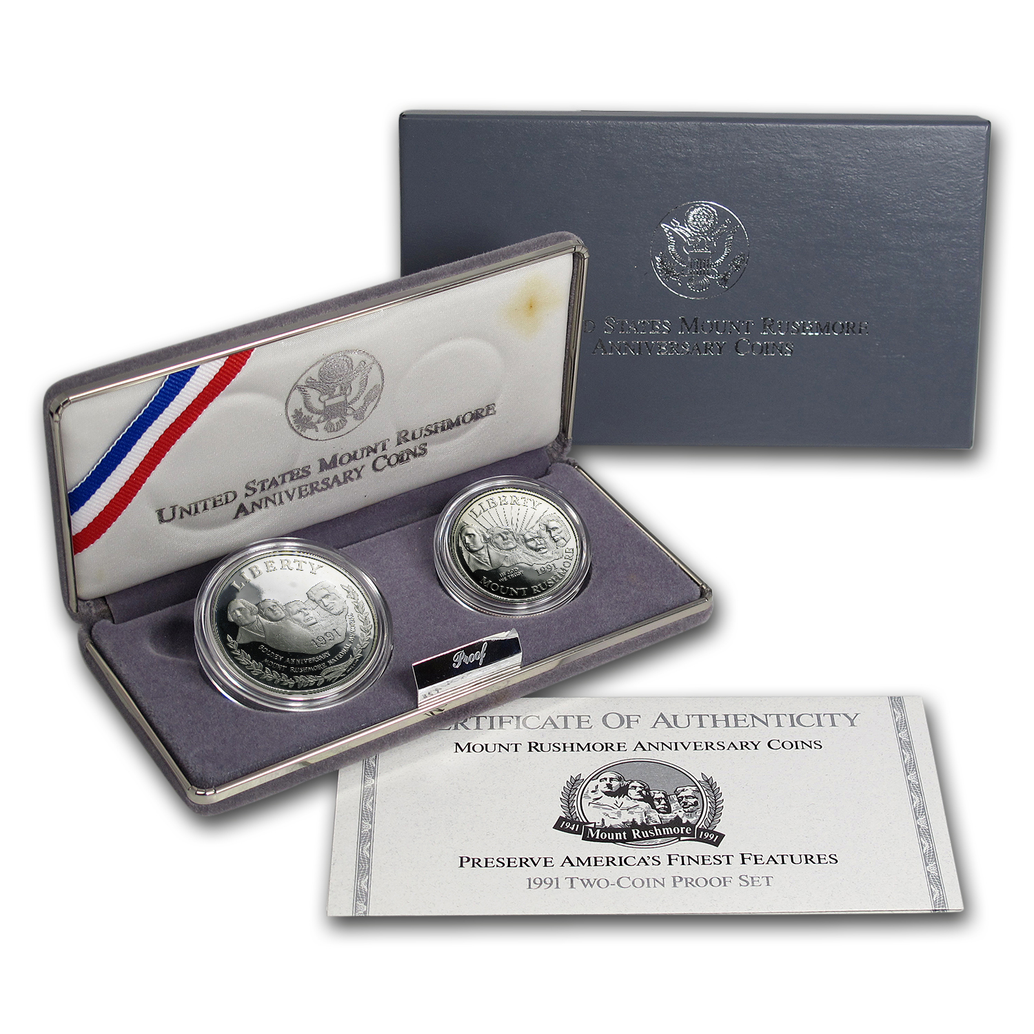 1991 2-Coin Mount Rushmore Proof Set (w/Box & COA)