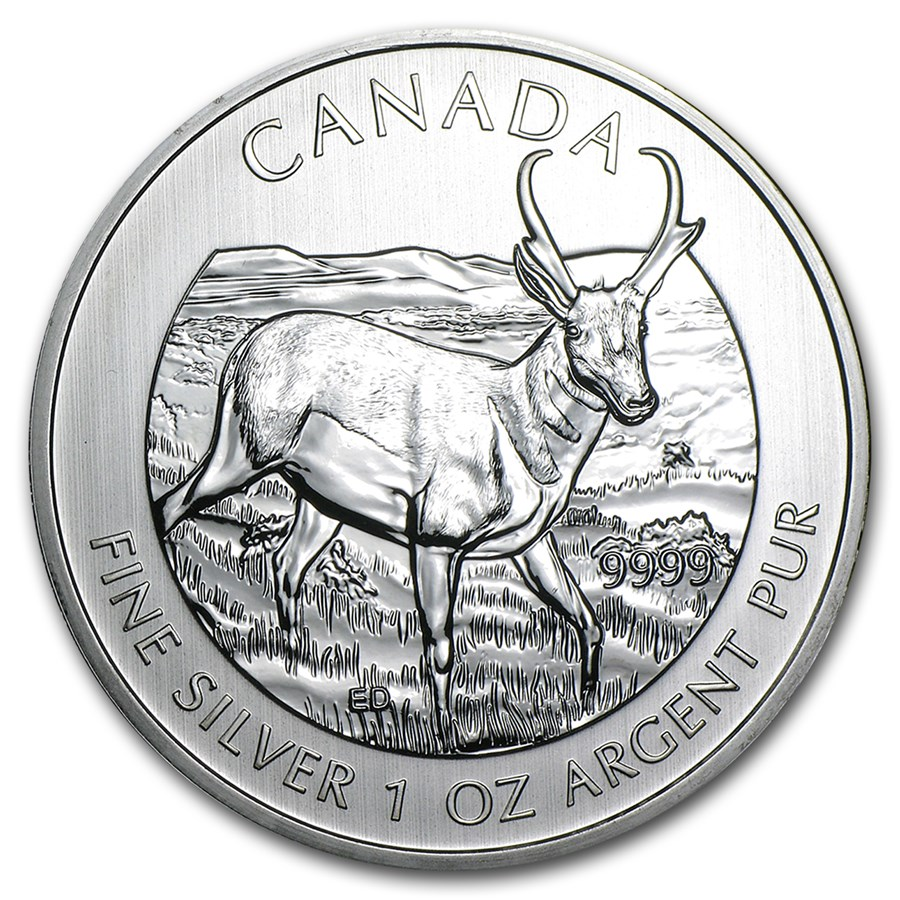 2013 Canada 1 Oz Silver Wildlife Series Pronghorn Antelope