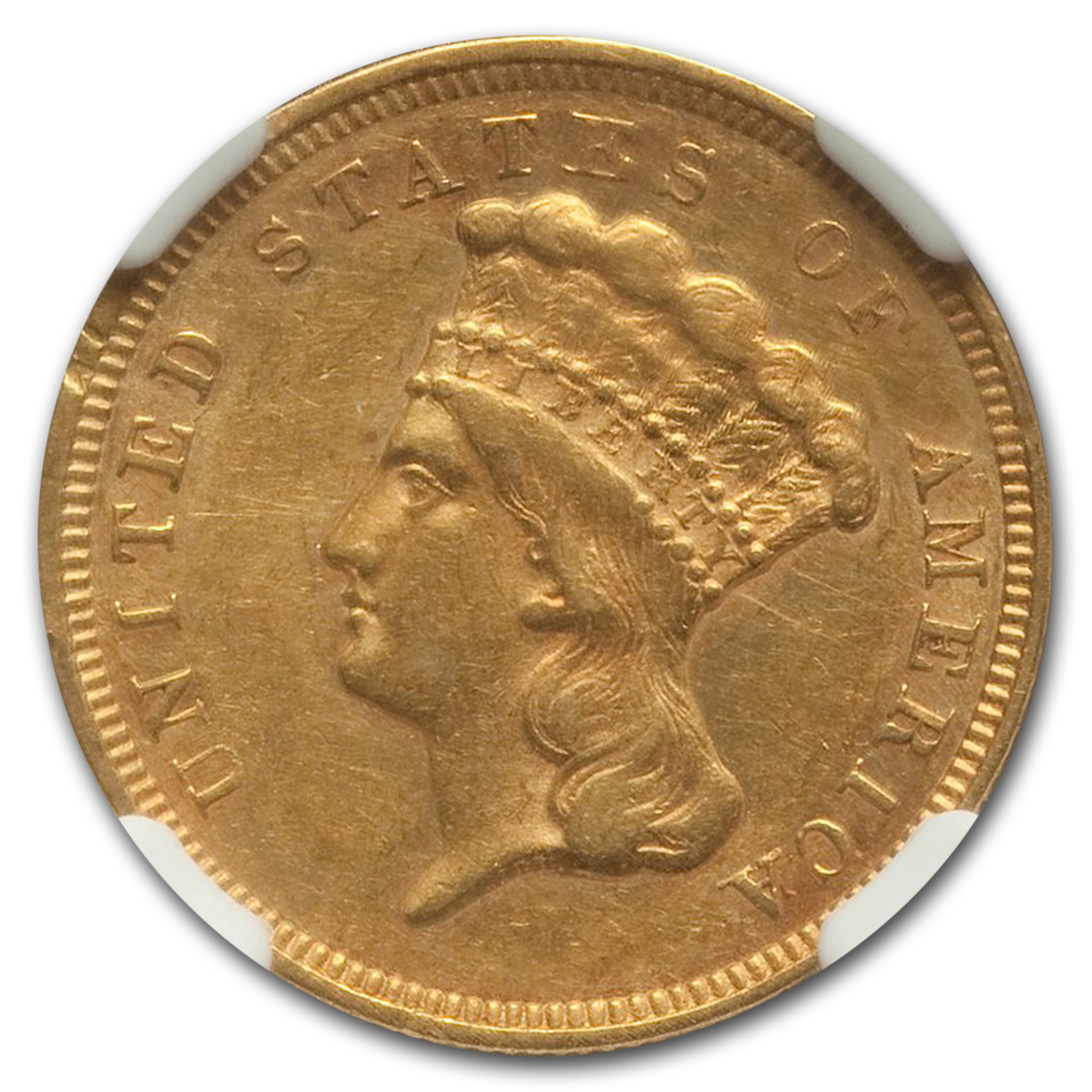1857 $3 Gold Princess AU-55 NGC