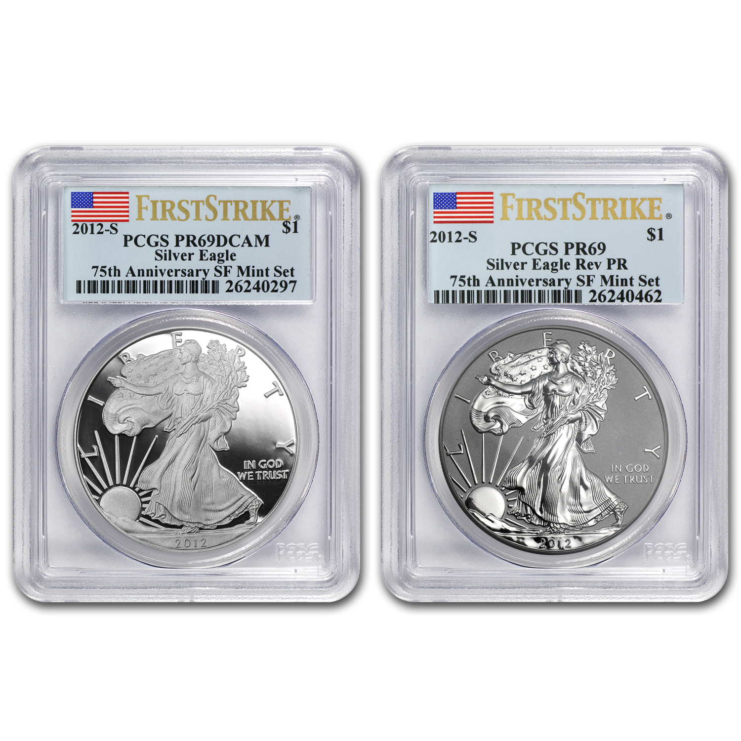 2012-S (2-Coin) Silver Eagle Set PR-69 PCGS 75th Anniv (FS)