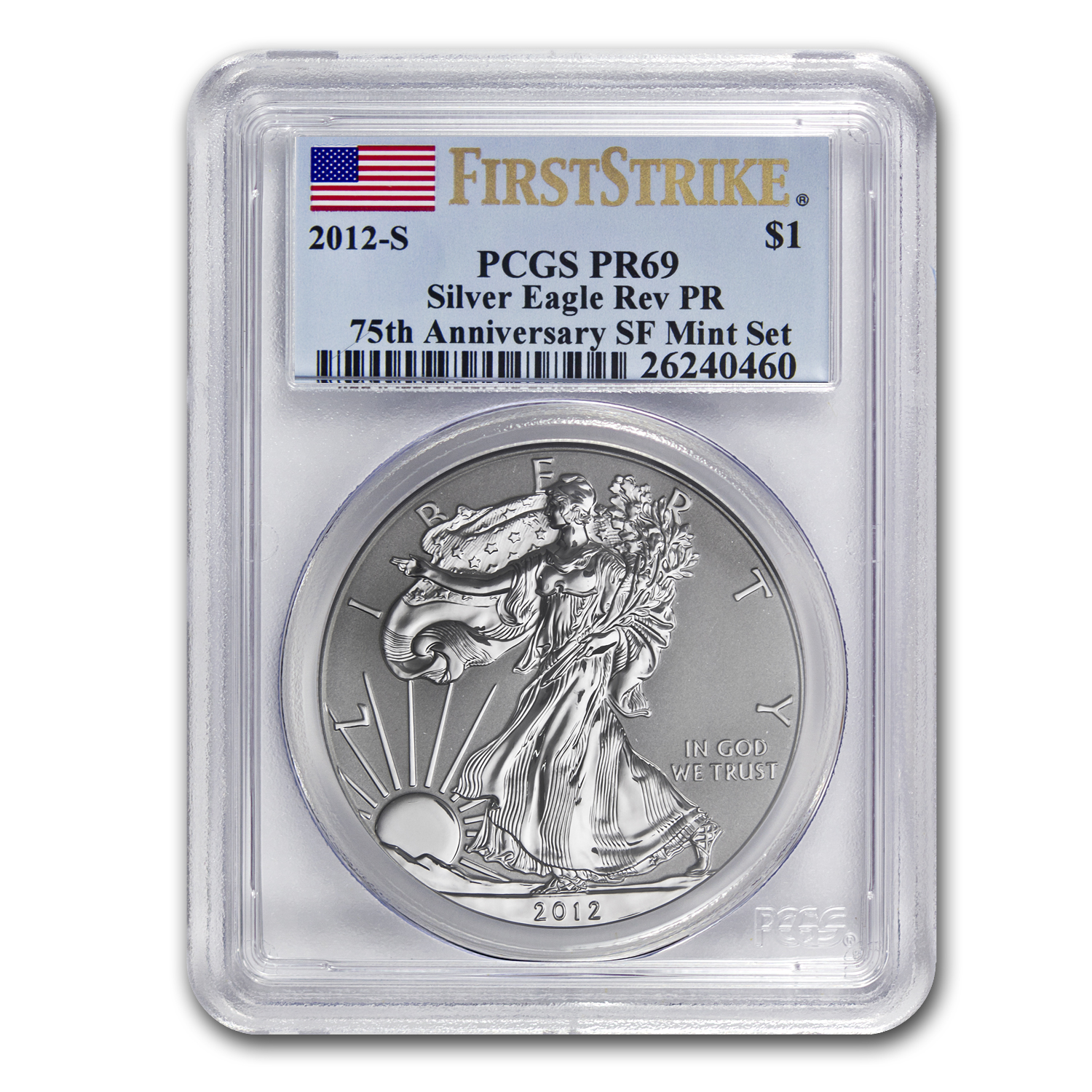 2012-S (Reverse Proof) Silver Eagle PR-69 PCGS 75th Anniv (FS)