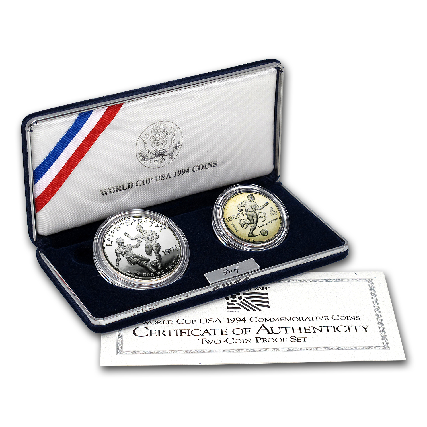 1994 2-Coin World Cup Proof Set (w/Box & COA)