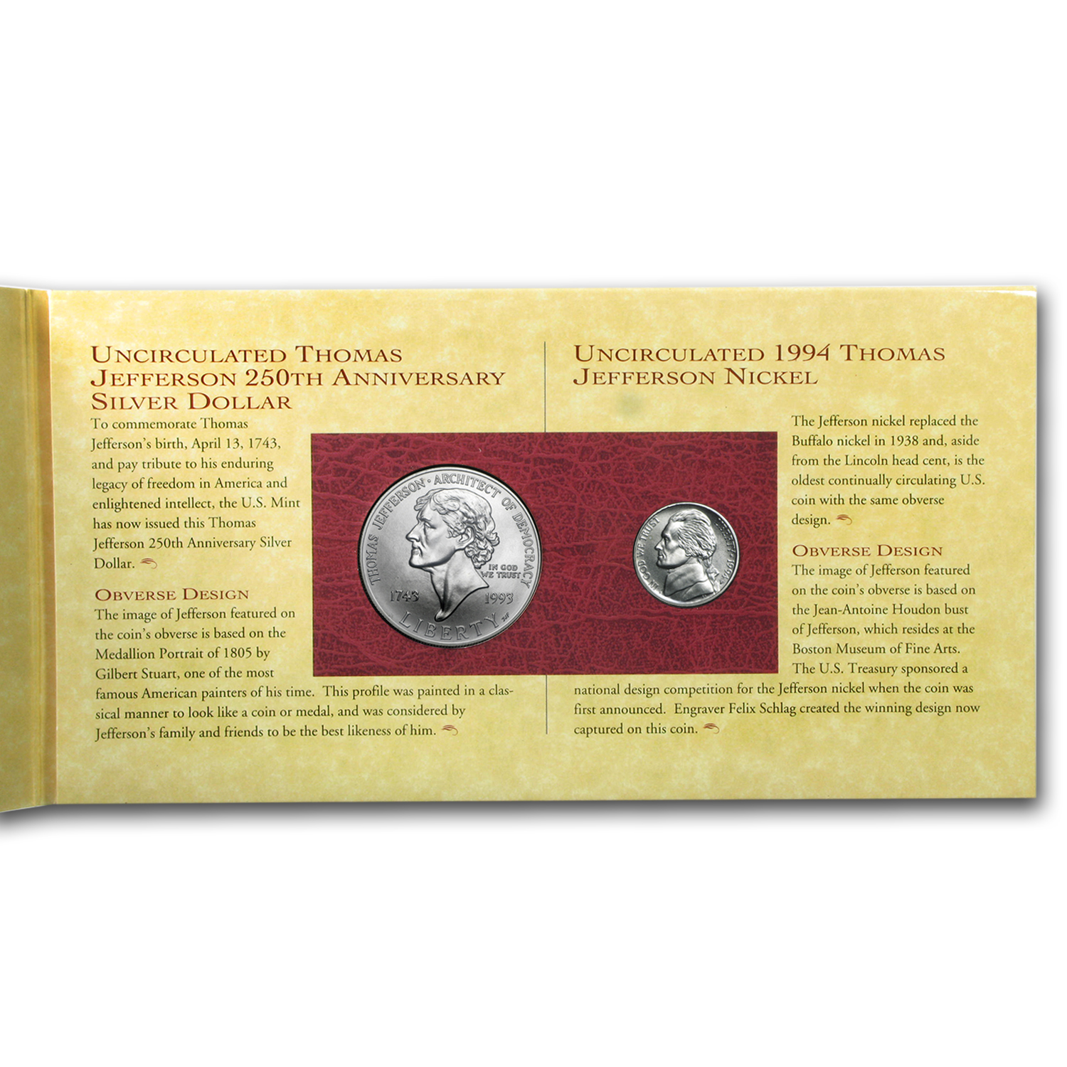 1993 Jefferson 250th Anniversary Coin & Currency Set (Box & COA)