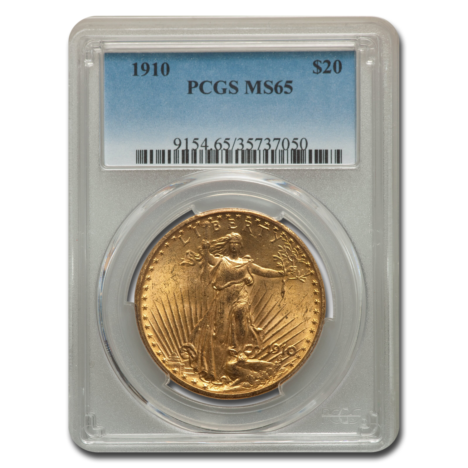 1910 $20 St. Gaudens Gold Double Eagle MS-65 PCGS