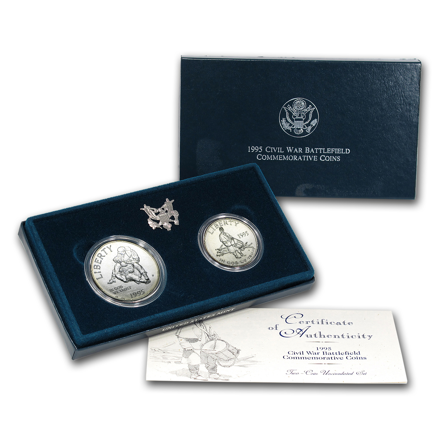 1995 2-Coin Civil War Battlefield Set BU (w/Box & COA)