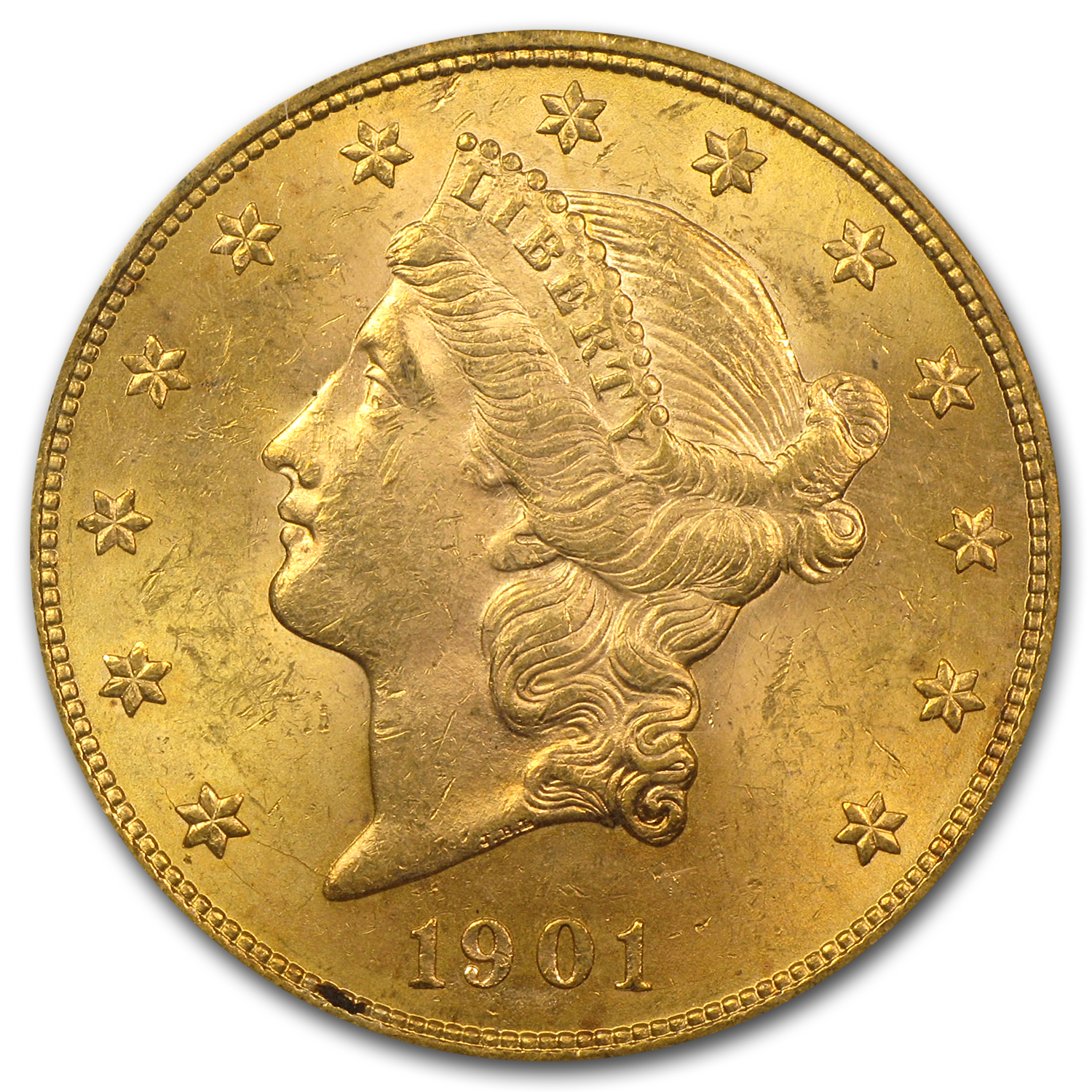 1901 $20 Liberty Gold Double Eagle MS-62 PCGS