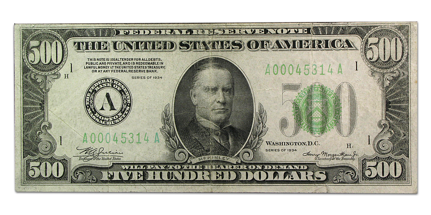 1934 (A-Boston) $500 FRN VF