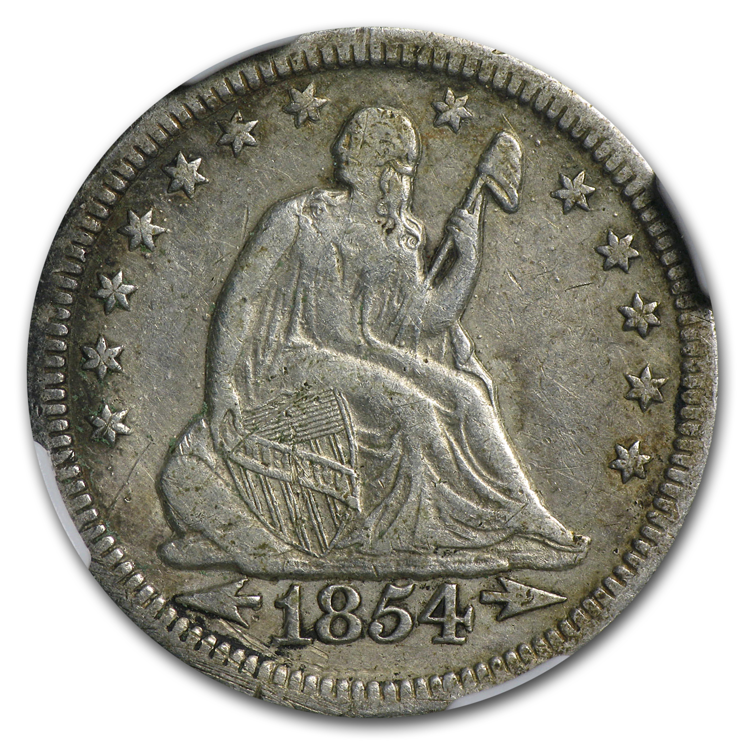 1854-O Huge O Seated Quarter w/Arrows XF - Cleaned NGC