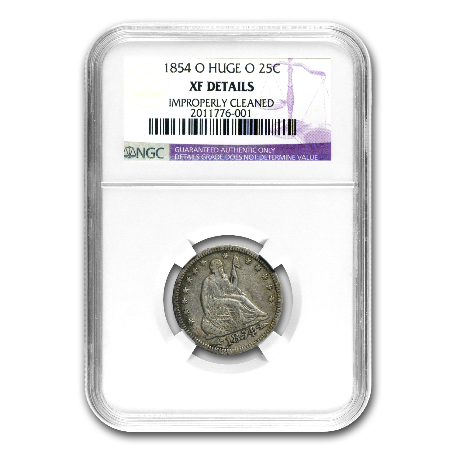 1854-O Liberty Seated Quarter Huge O NGC (Cleaned)