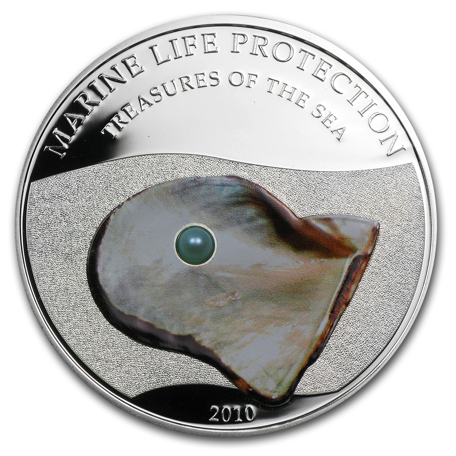 Palau 2010 Silver $5 Marine Life Protection - Blue Pearl Oyster