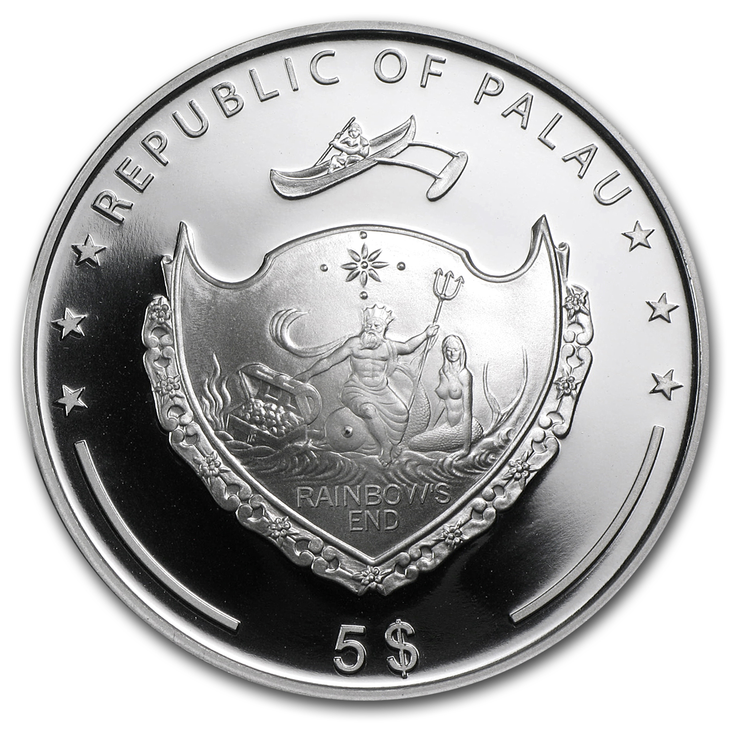 2008 Palau Silver $5 Marine Life Protection Pearl of the Sea