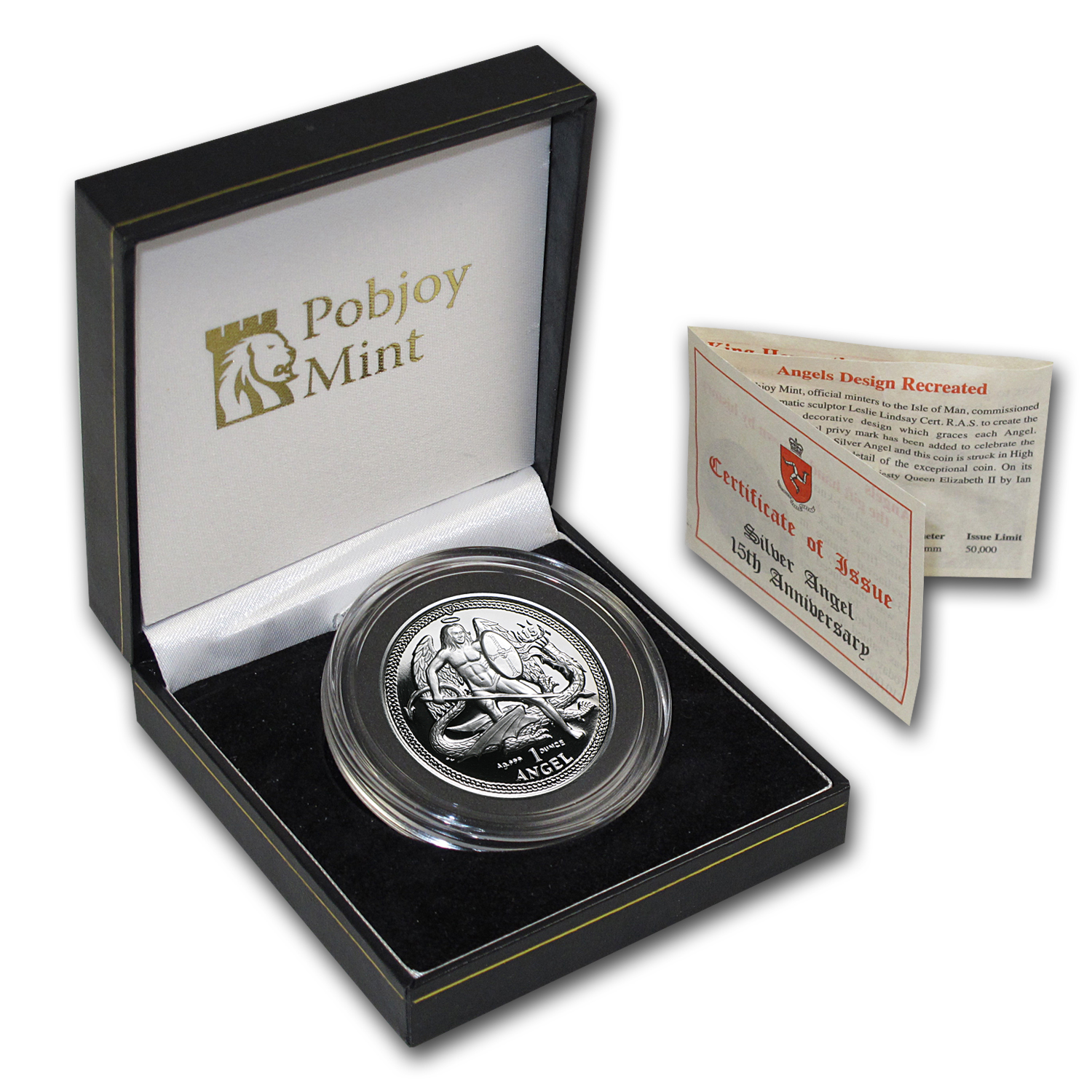 2010 Isle of Man 1 oz Silver Angel Proof (High Relief)