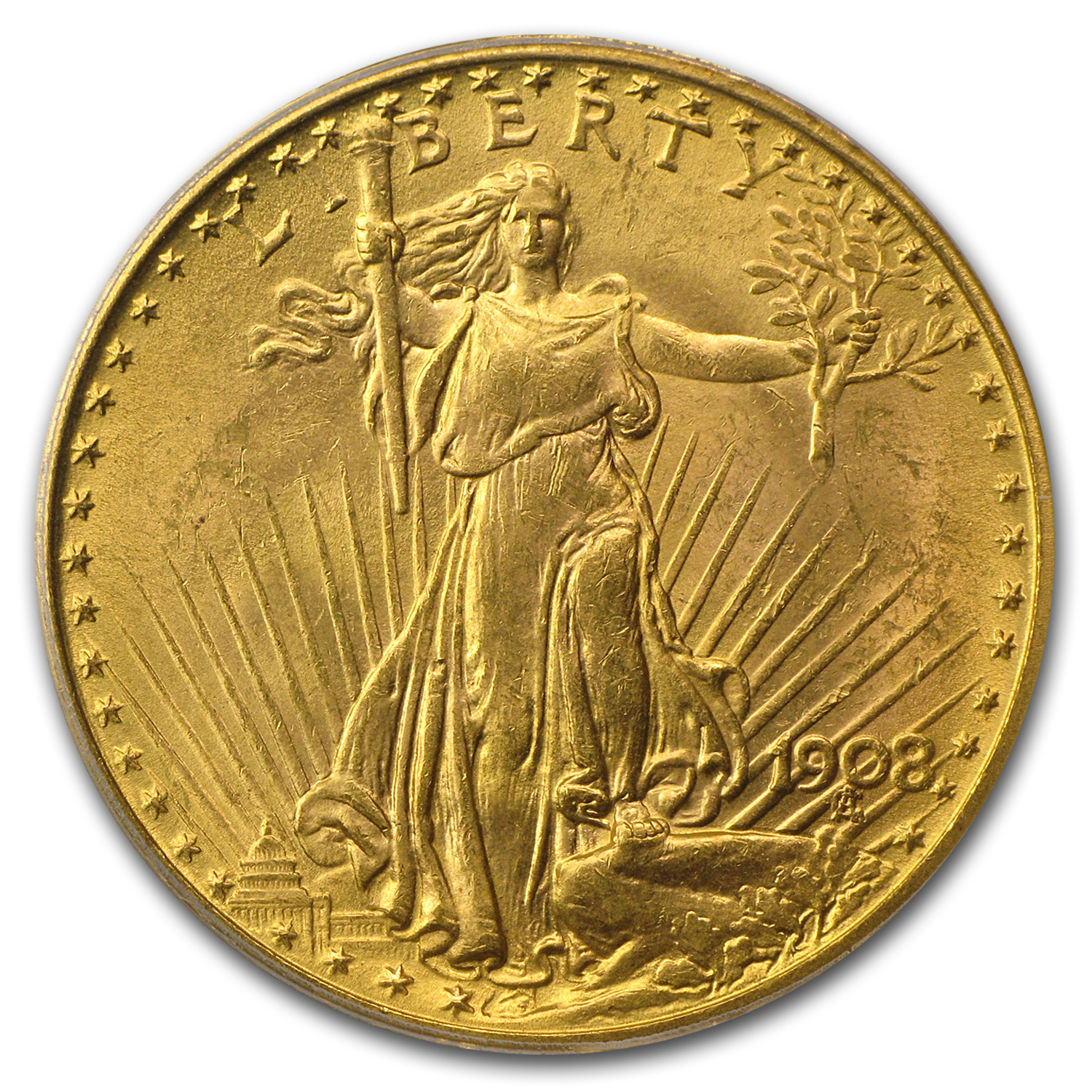 1908 $20 St. Gaudens Gold Double Eagle No Motto MS-63 PCGS (CAC)