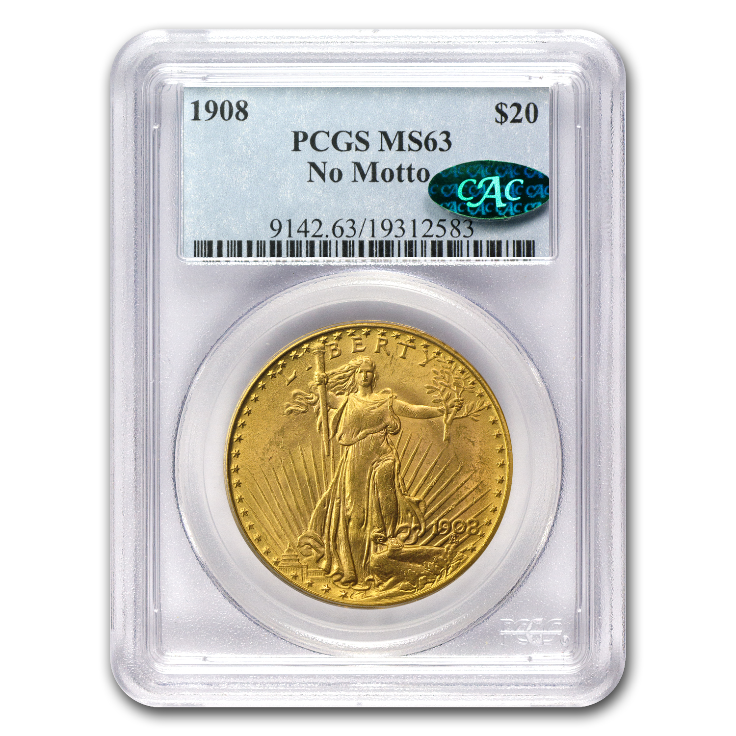 1908 $20 St. Gaudens Gold - No Motto - MS-63 PCGS CAC