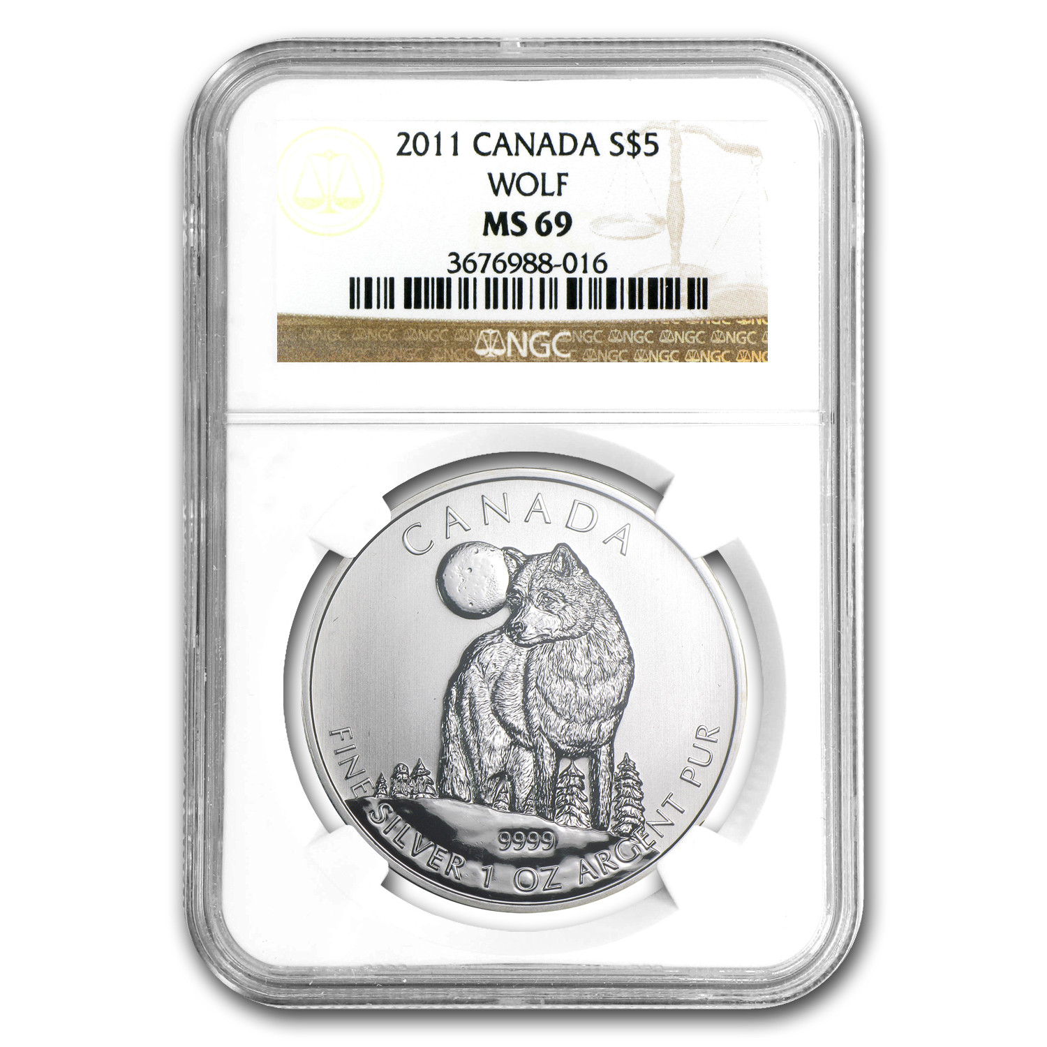 2011 1 oz Silver Canadian Wildlife Series Wolf MS-69 NGC
