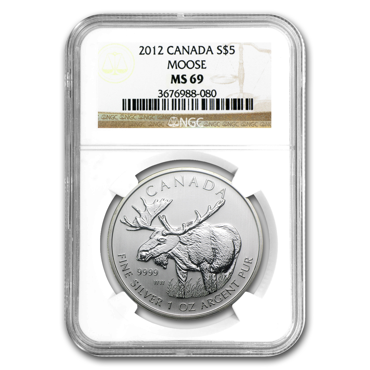 2012 1 oz Silver Canadian Wildlife Series Moose MS-69 NGC