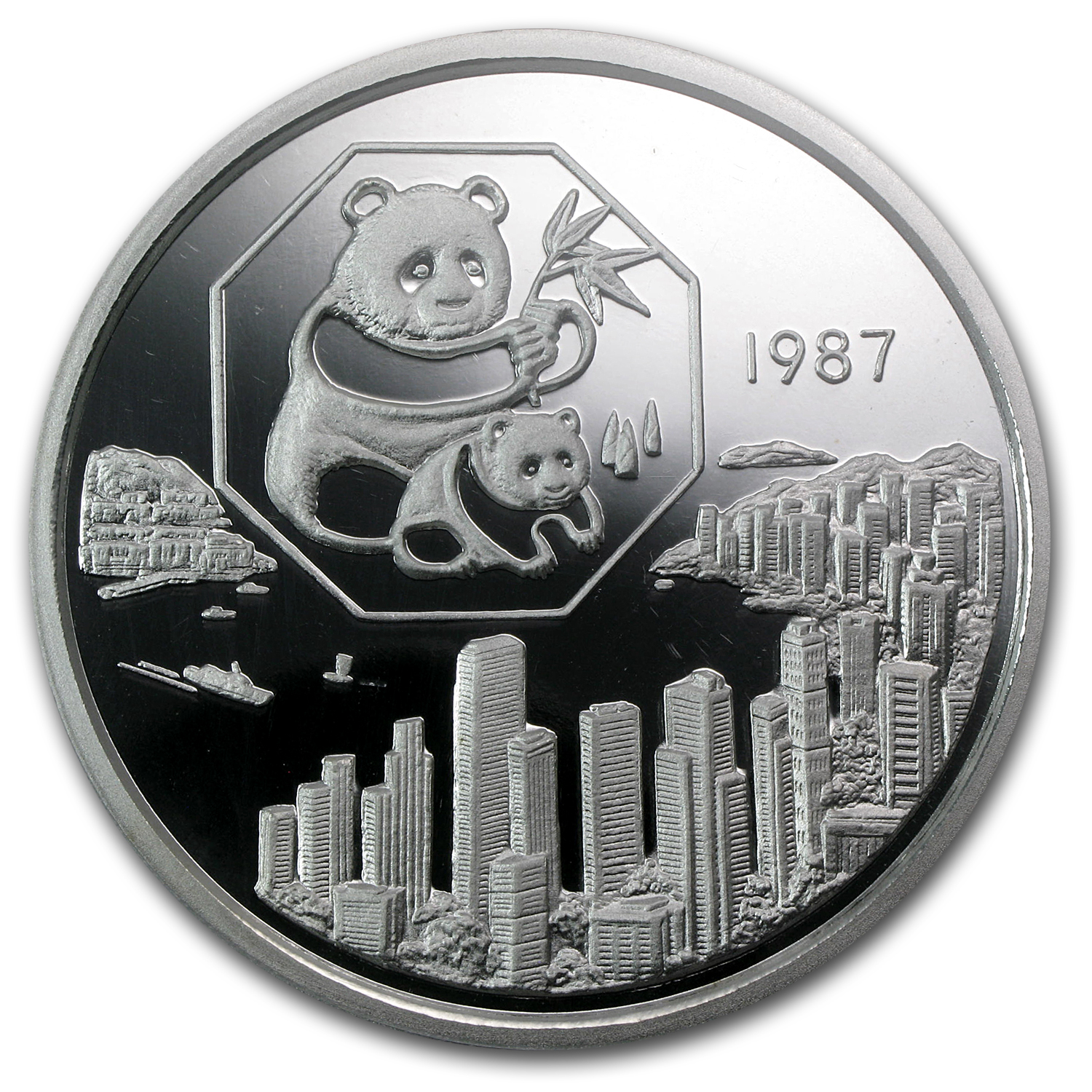 1987 China 5 oz Silver Panda Hong Kong Expo PR-68 PCGS