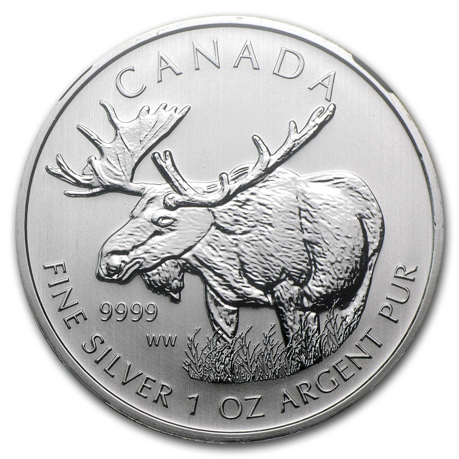 2012 1 oz Silver Canadian Wildlife Series Moose MS-68 NGC