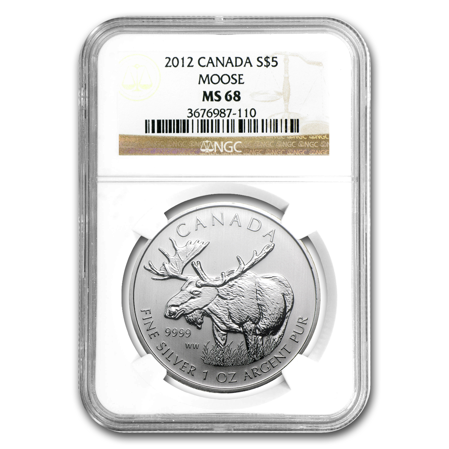 2012 1 oz Silver Canadian Wildlife Series - Moose MS-68 NGC