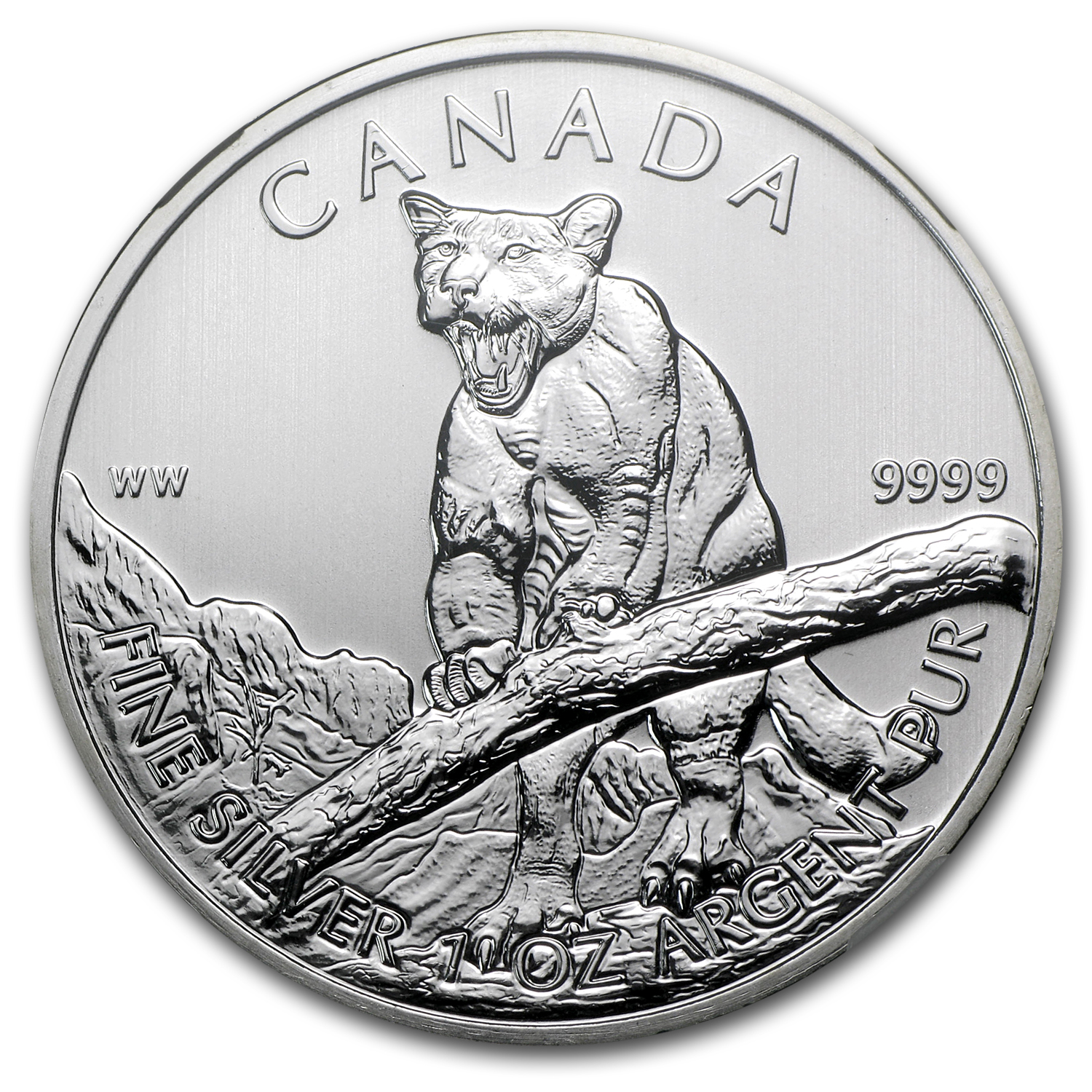 2012 1 oz Silver Canadian Wildlife Series Cougar MS-68 NGC